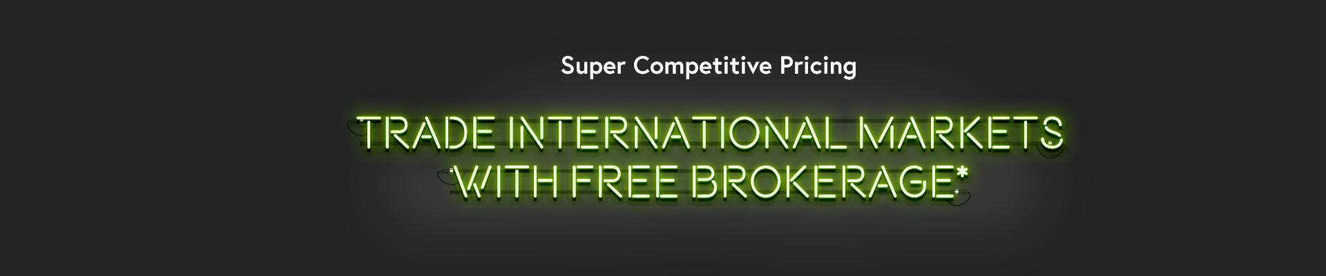 Free stock brokerage offer in neon lights