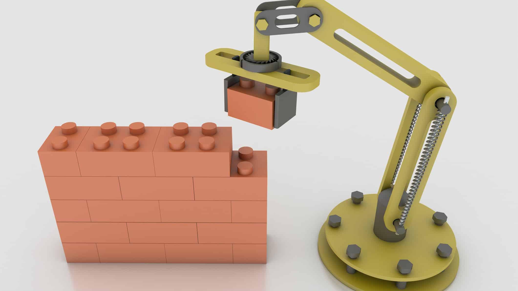 Robotic arm builds a brick wall