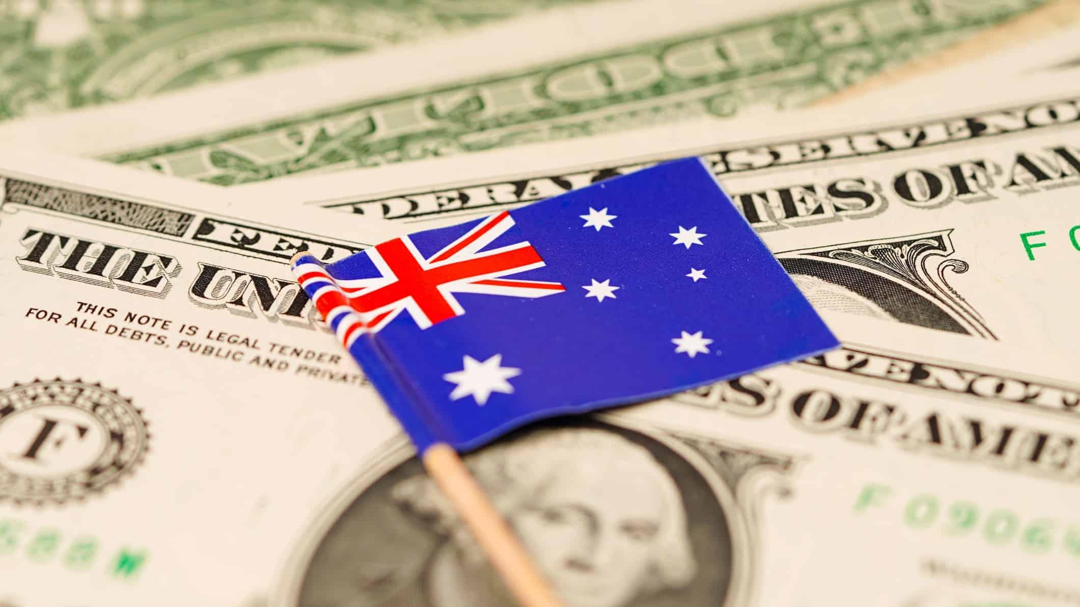 Australian flag on US greenback