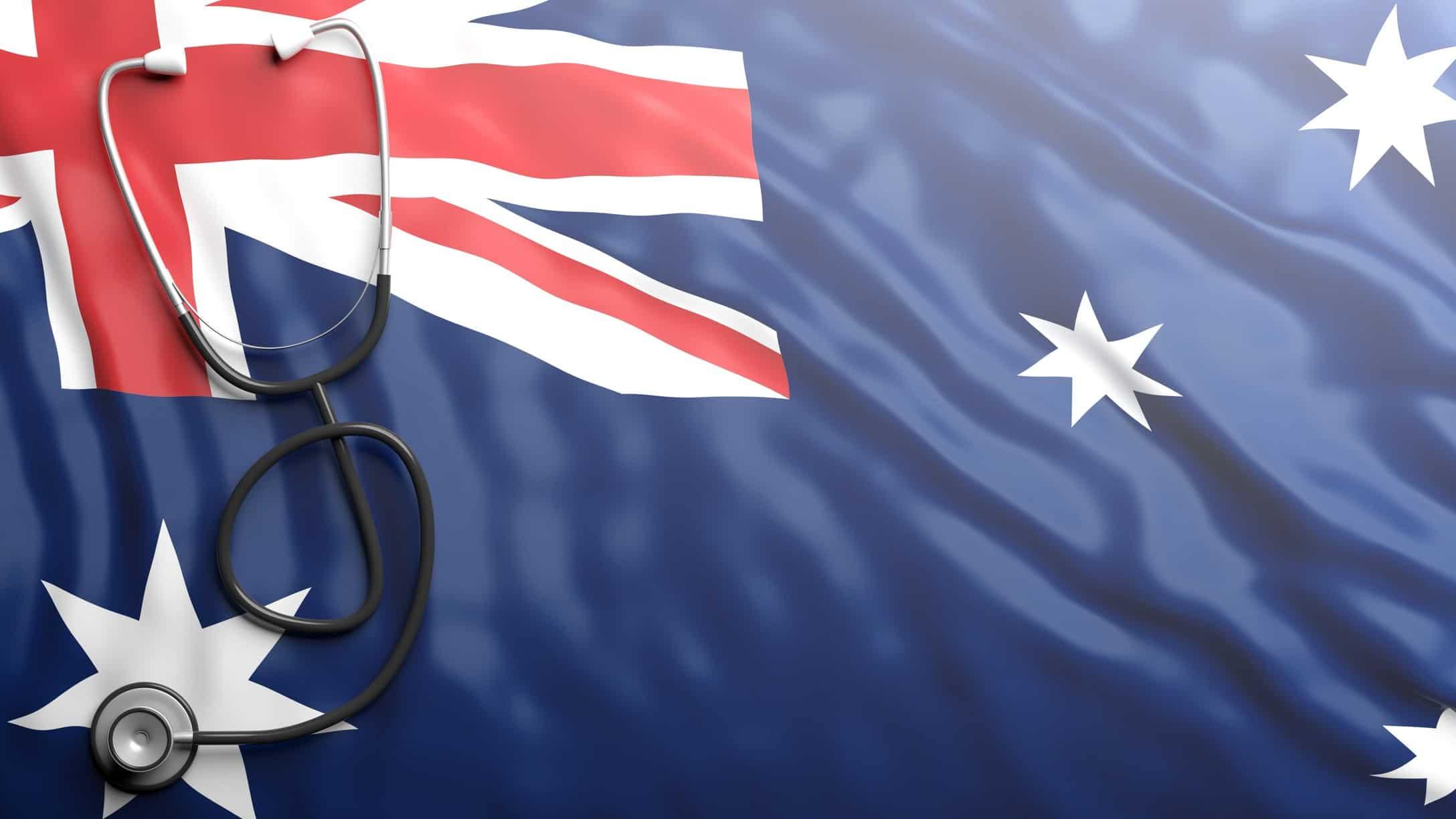 Australian flag with stethoscope on it