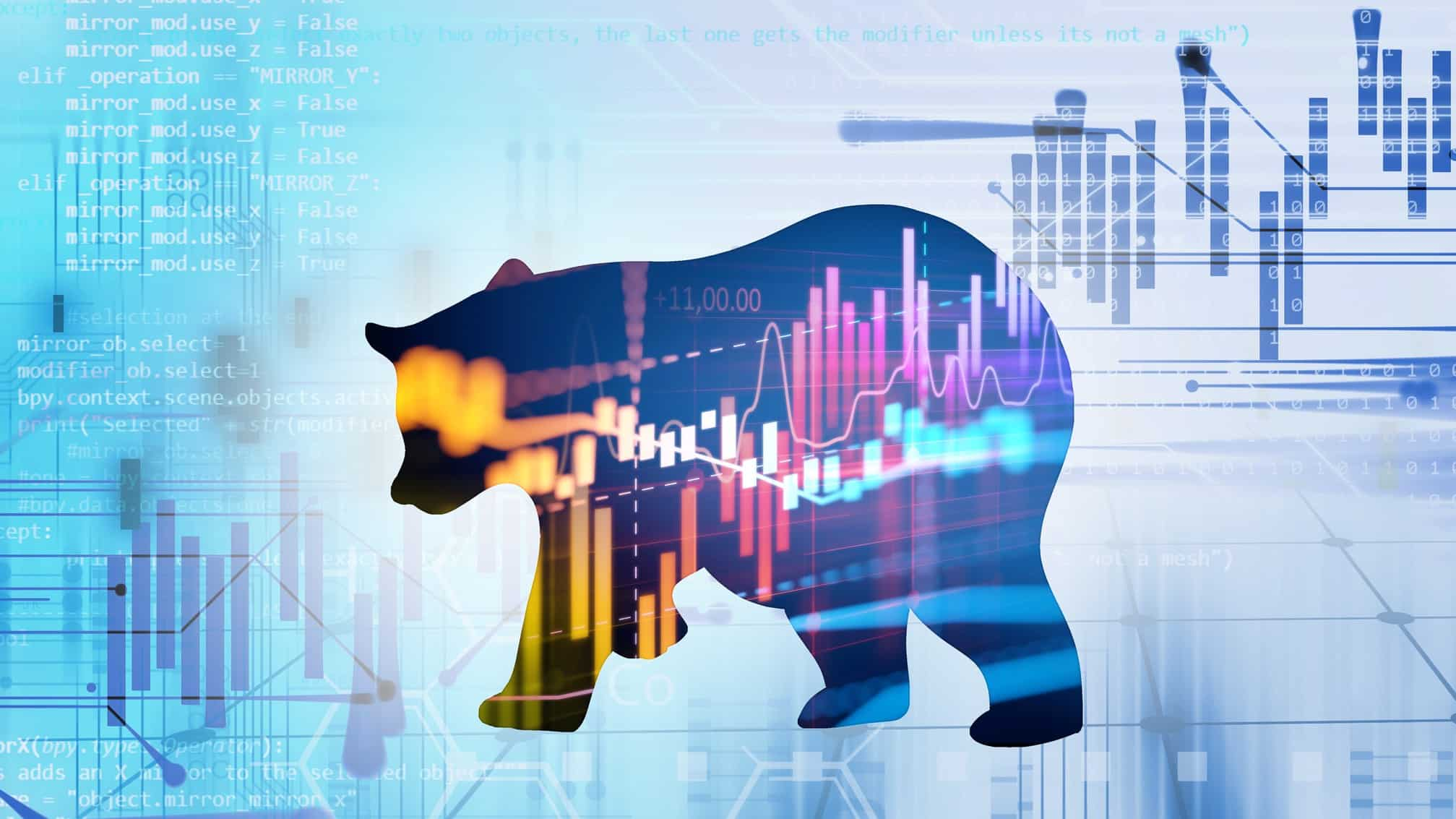 stylised silhouette of a bear on financial graph background