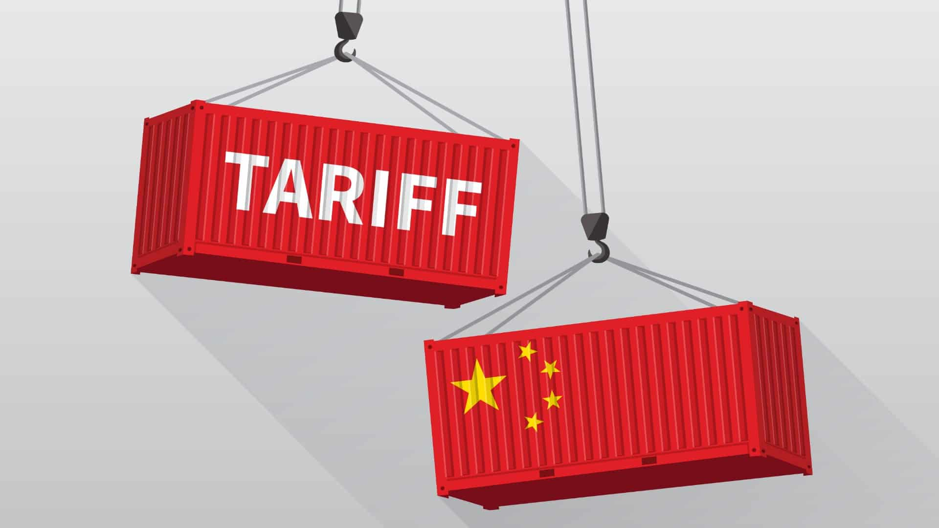Two red shipping containers with the word 'Tariff' and Chinese flag