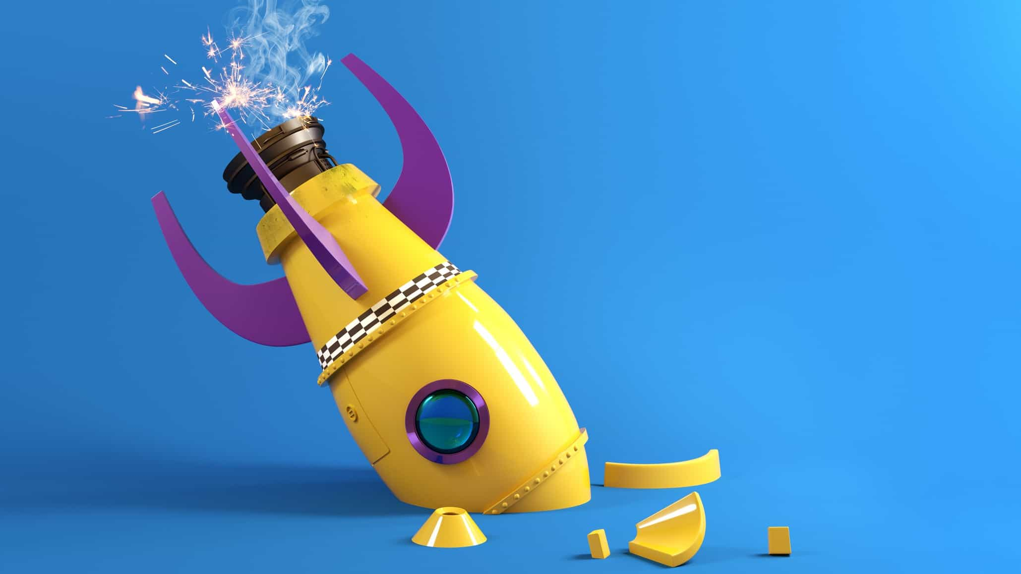 falling asx share price represented by toy rocket crashed into ground