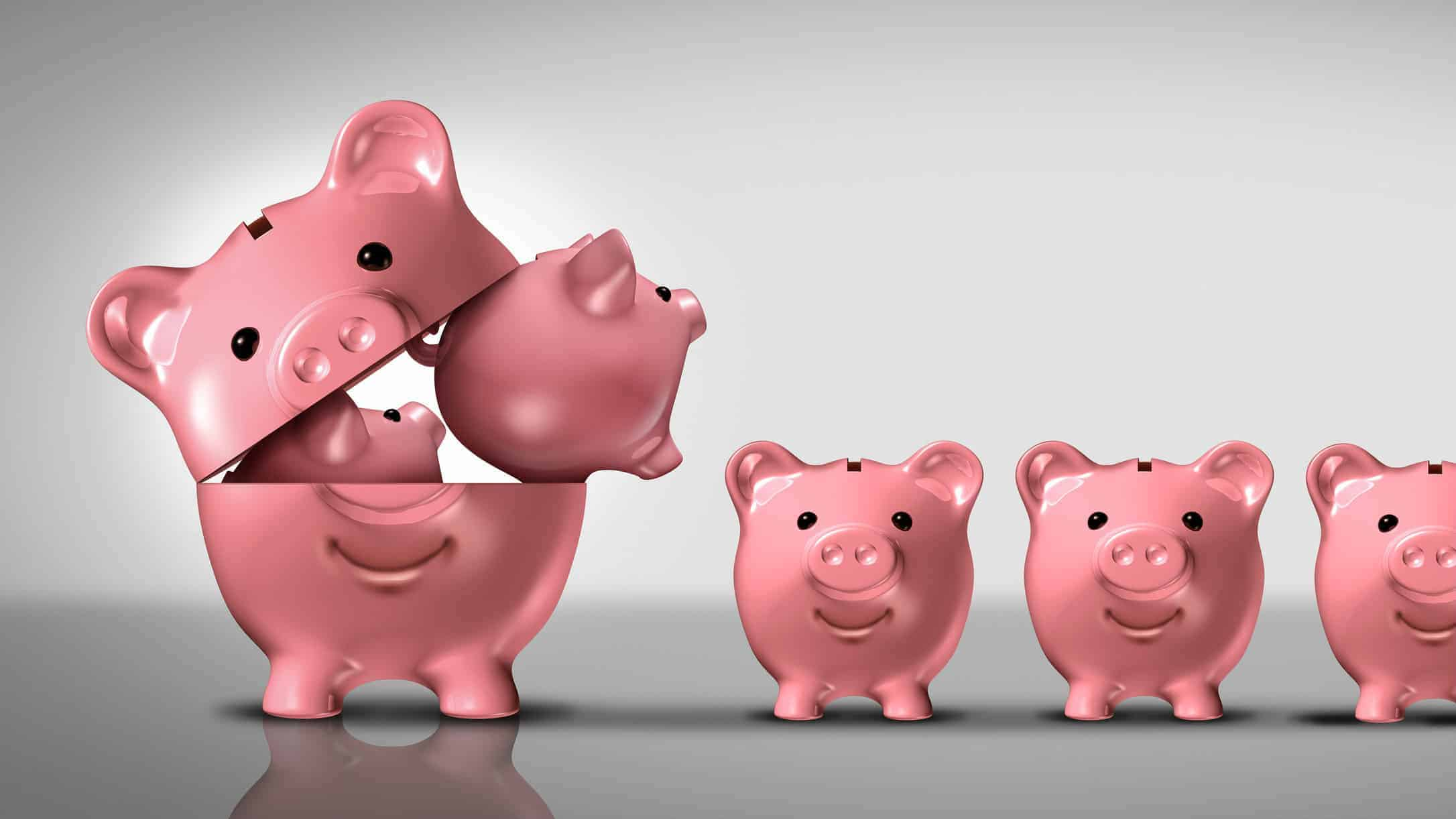 Diversifed asx shares and dividends represented by small piggy banks coming out of larger piggy bank