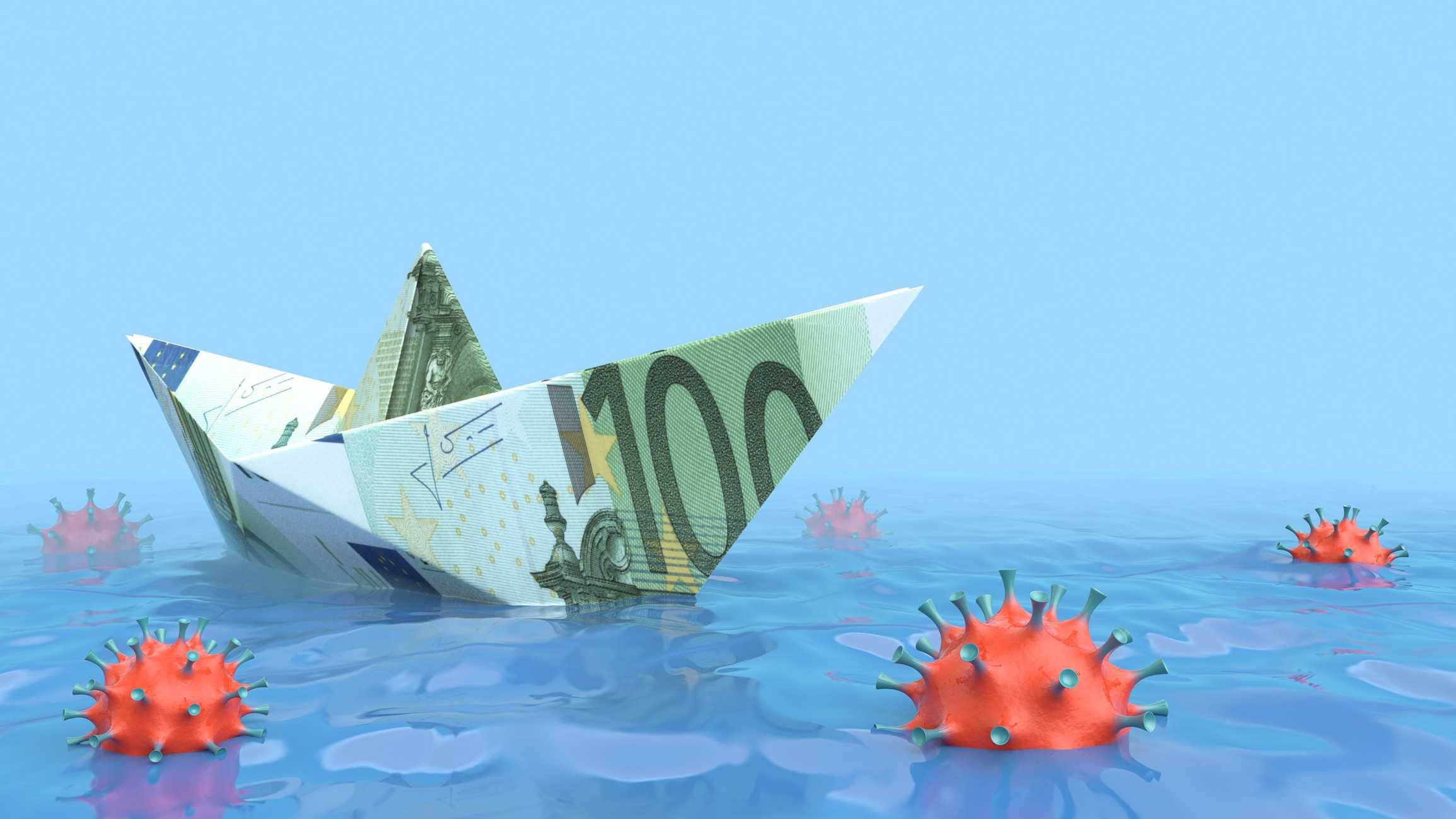 ASX shares and ETF representing by paper boat made from one hundred dollar note floating on sea containing covid bugs