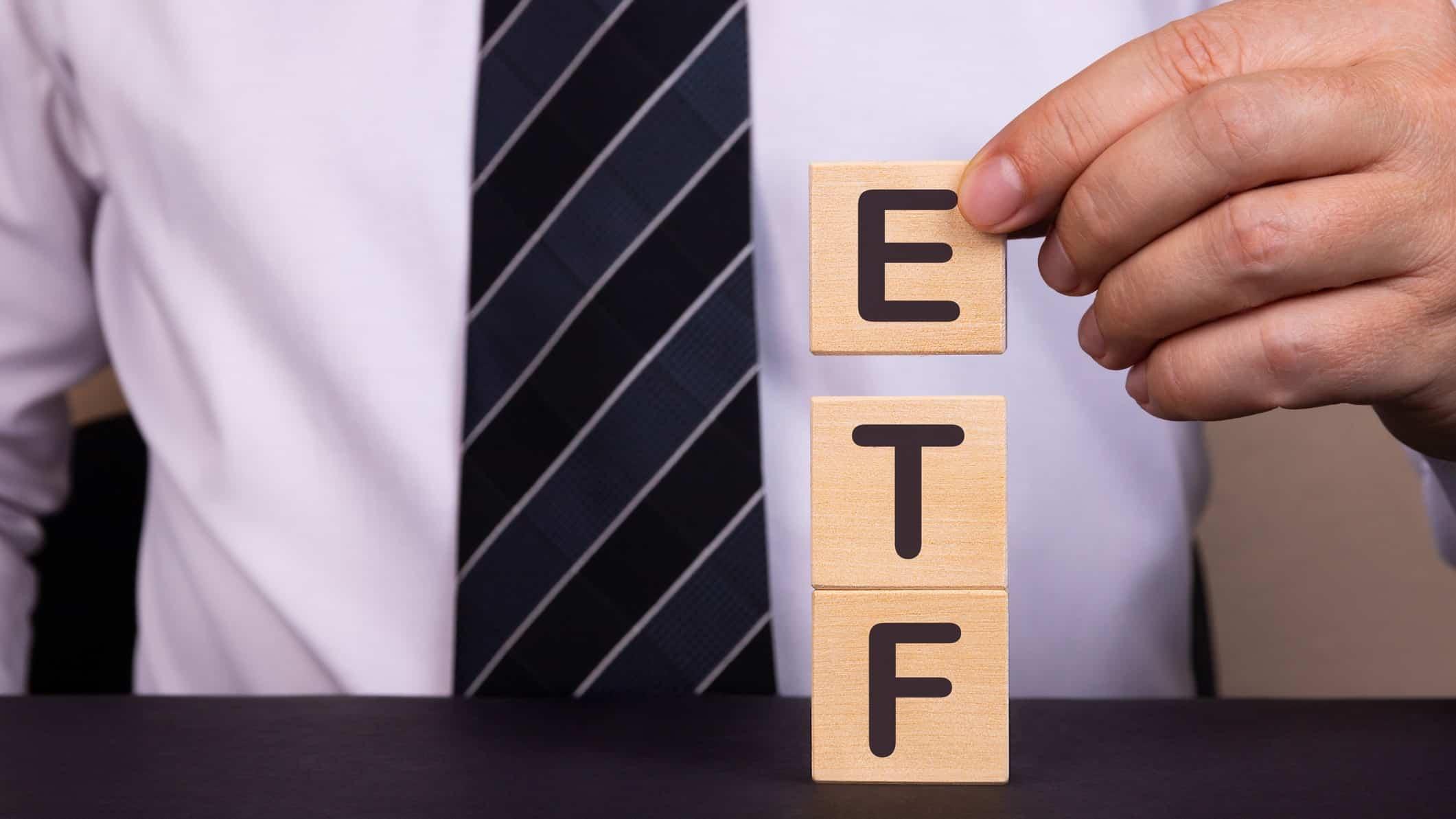 Wooden blocks depicting letters ETF, ASX ETF