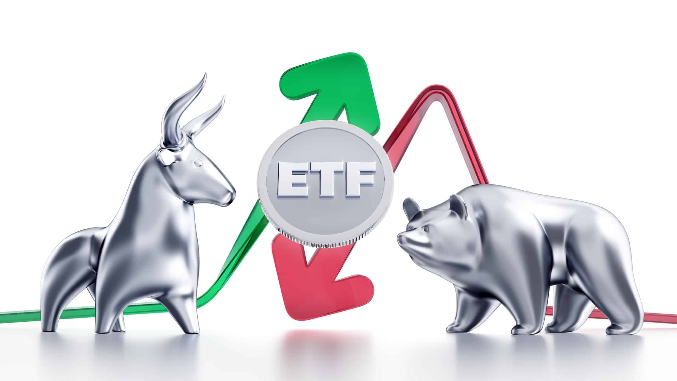 Illustration of a bear and bull facing each other either side of a disc that says ETF