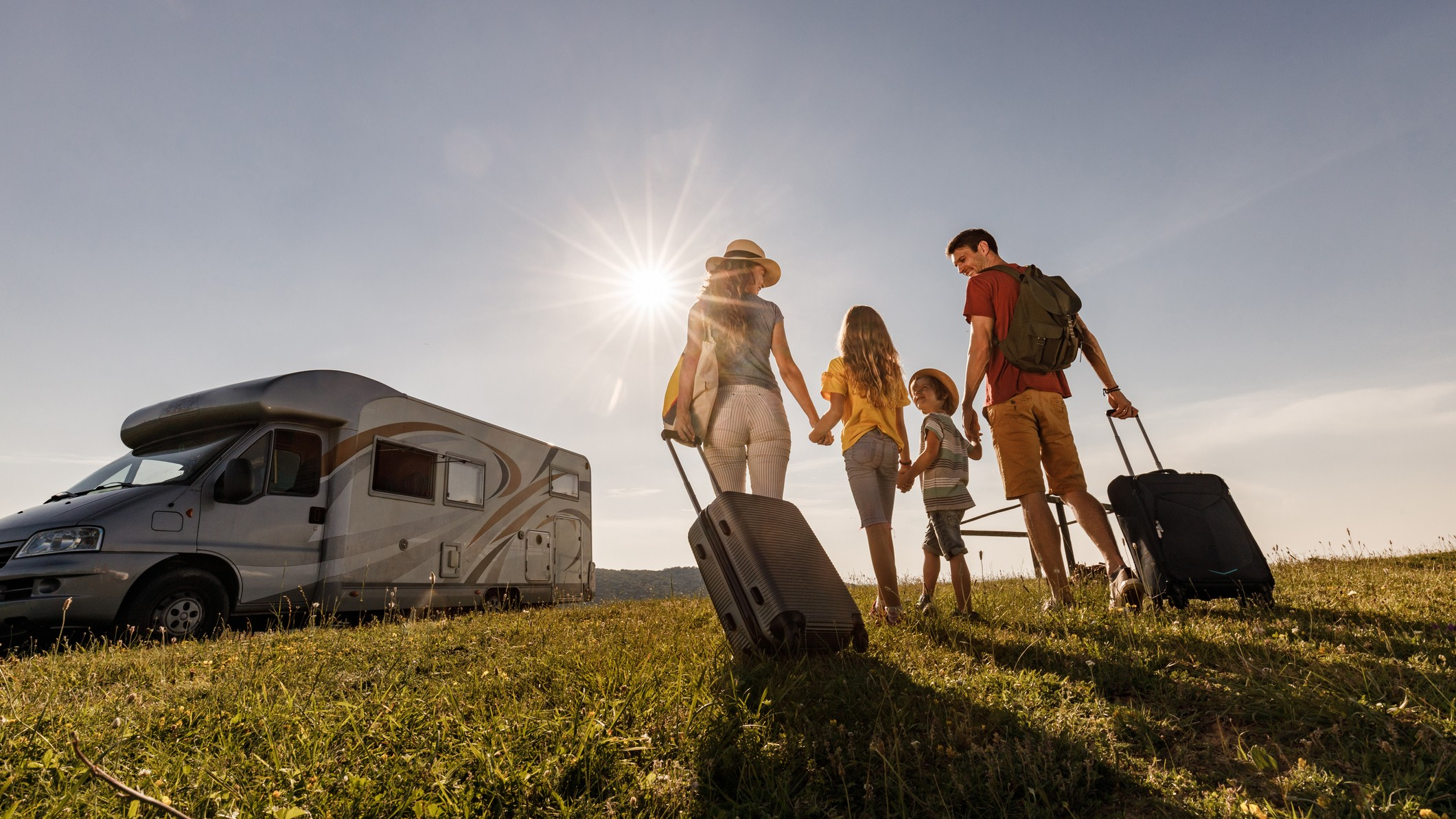 family of four on campervan holiday