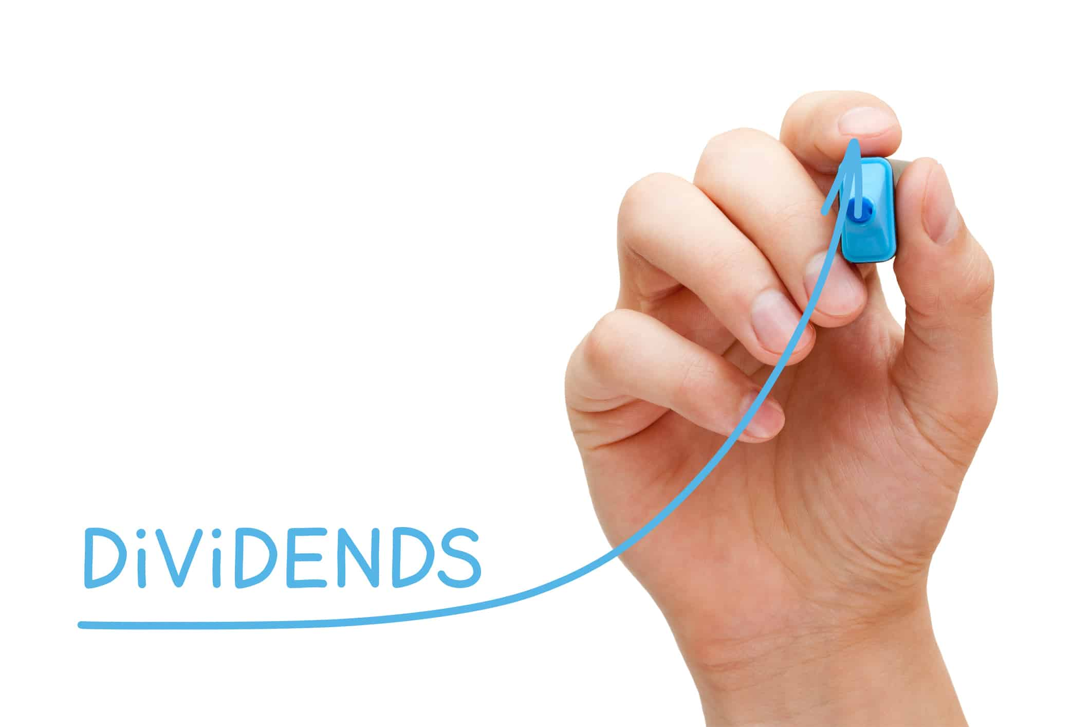 Hand drawing growing Dividends investment business graph with blue marker on transparent wipe board.