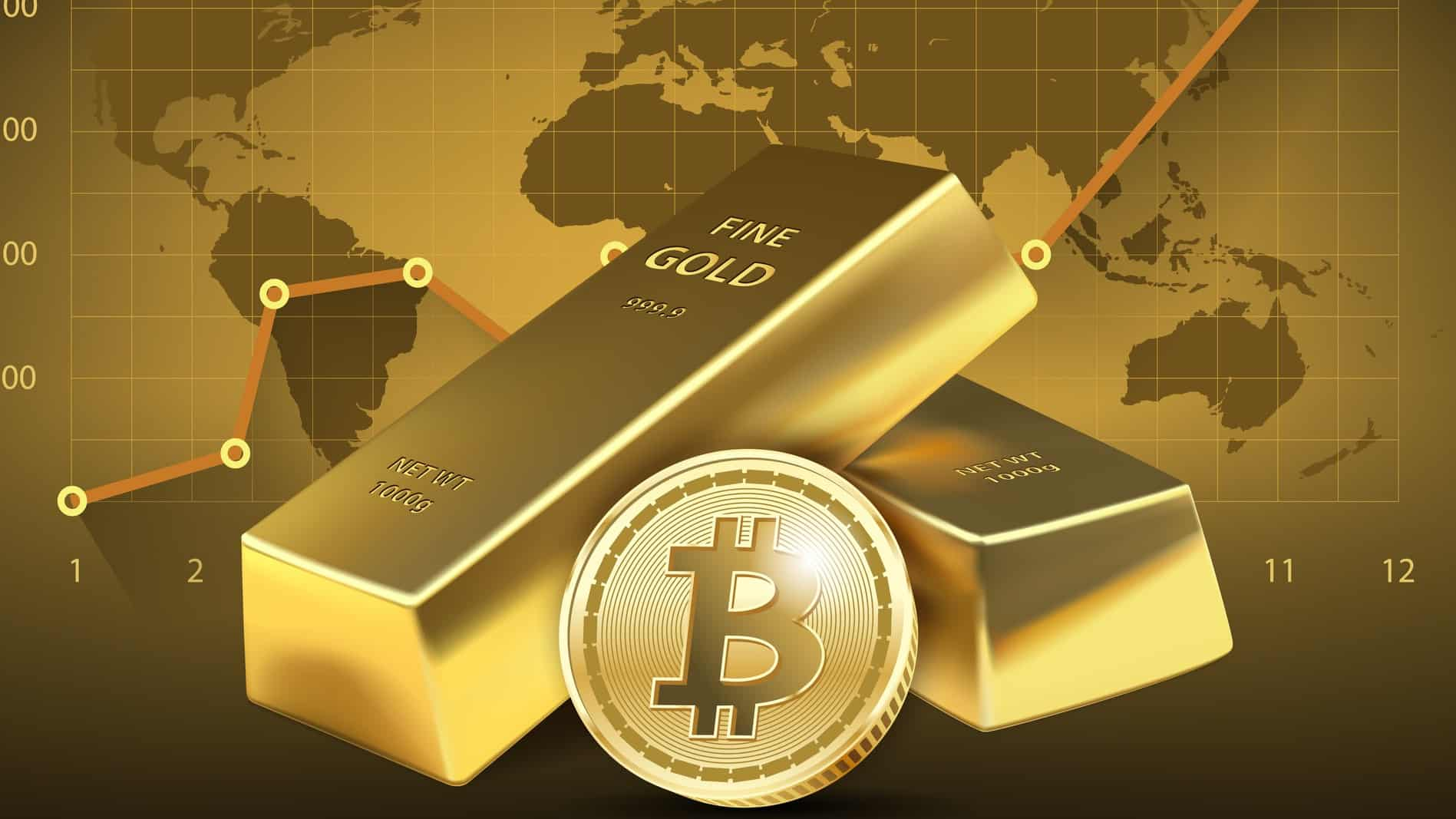 Illustration of gold bullion and bitcoin layered in front of a share price chart