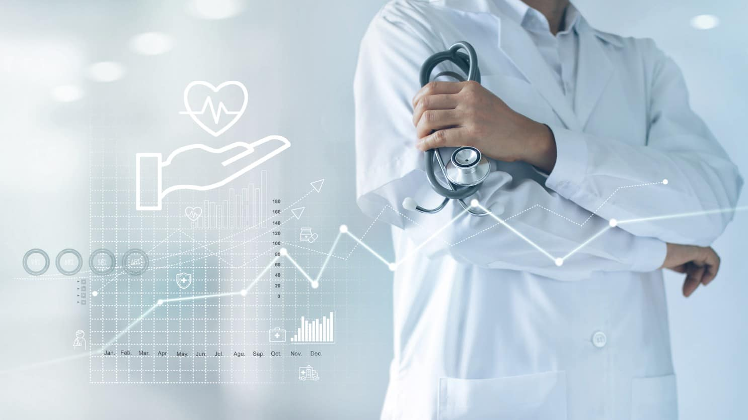 Doctor with stethoscope in hand and data graph showing upward trend