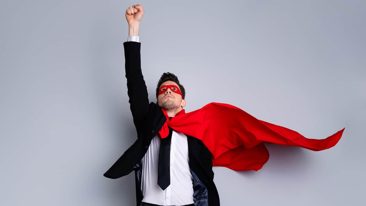 unstoppable asx share price represented by man in superman cape pointing skyward