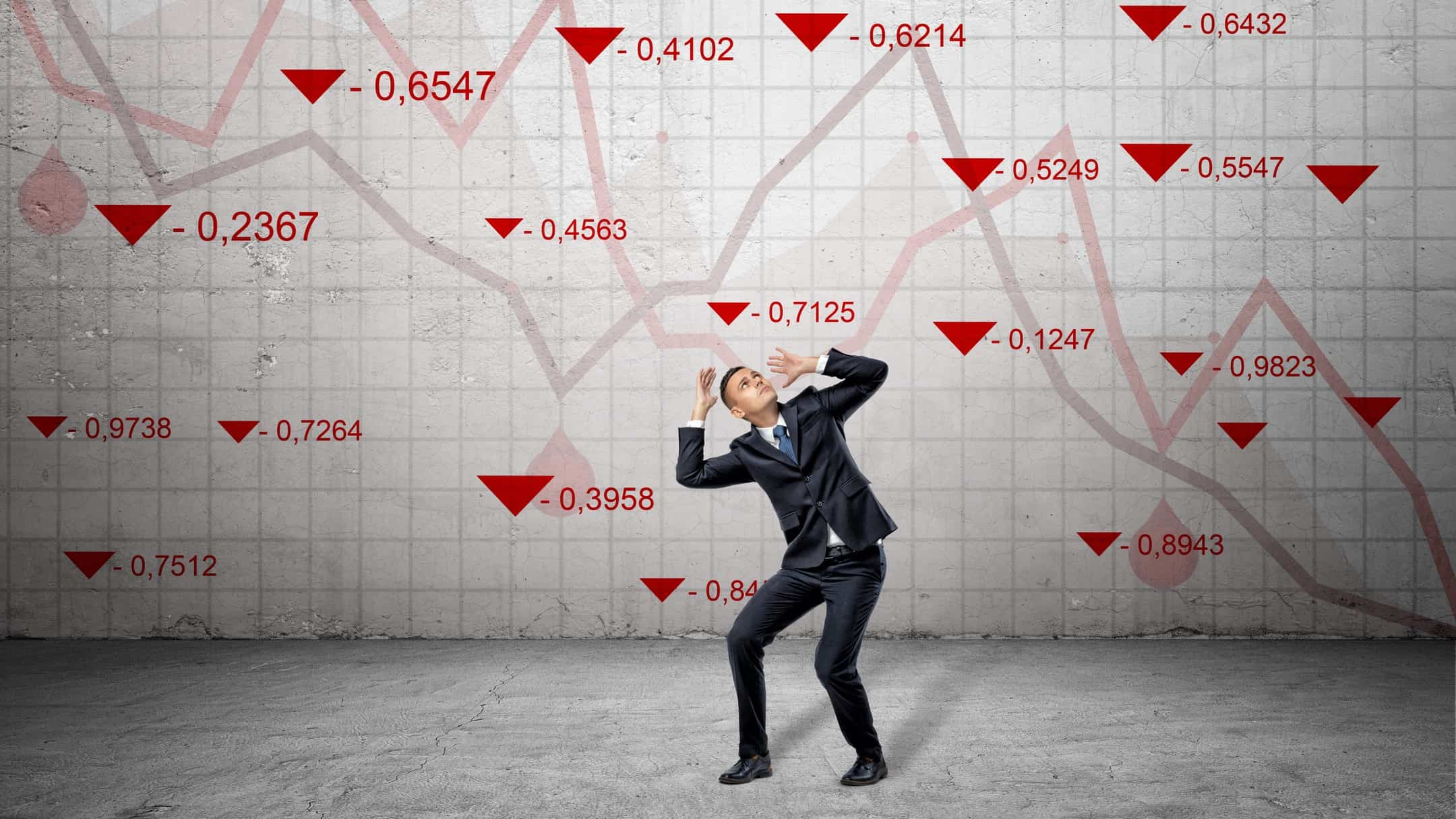 share market red arrows and chart falling on man