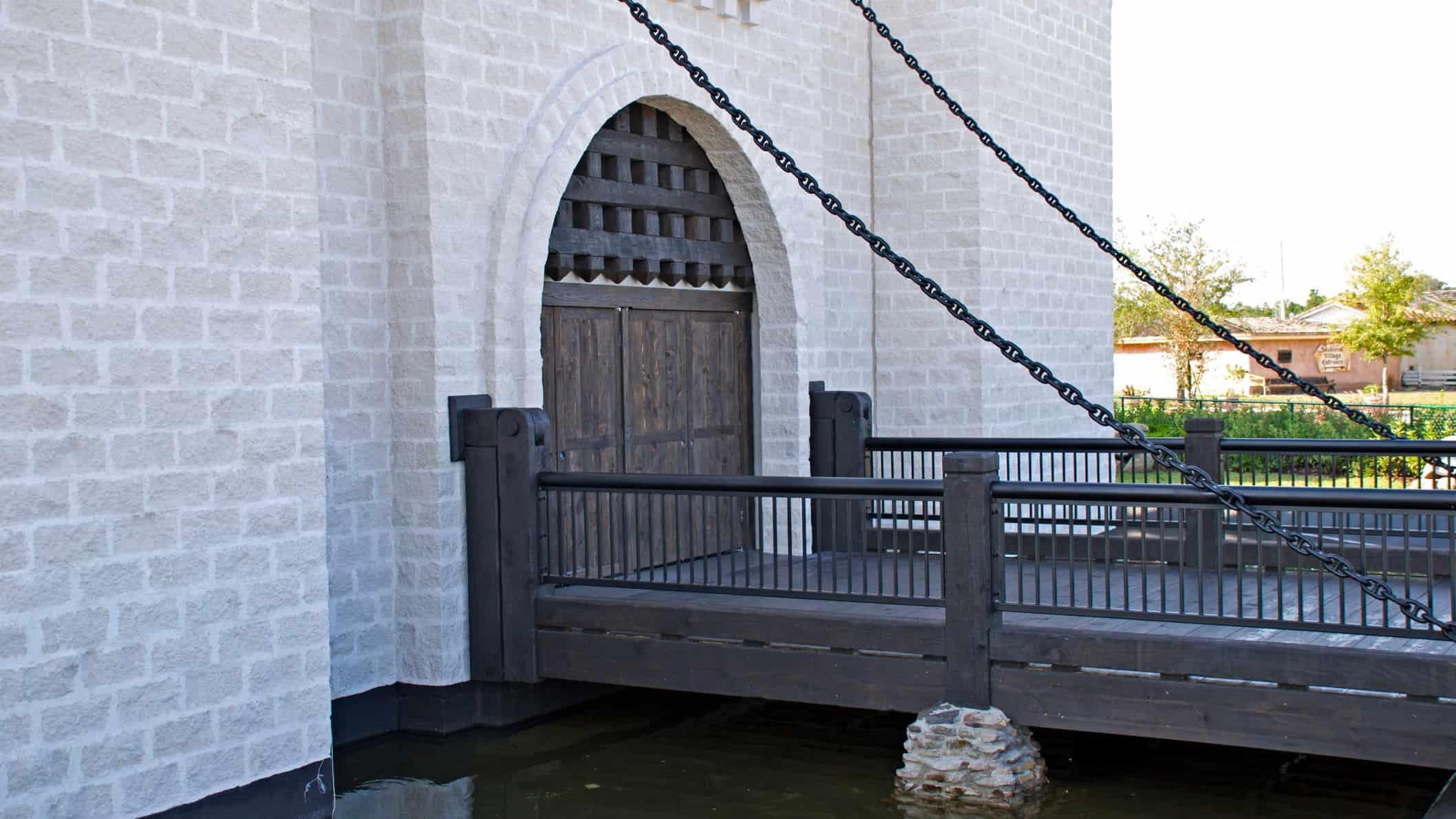 Castle drawbridge over moat