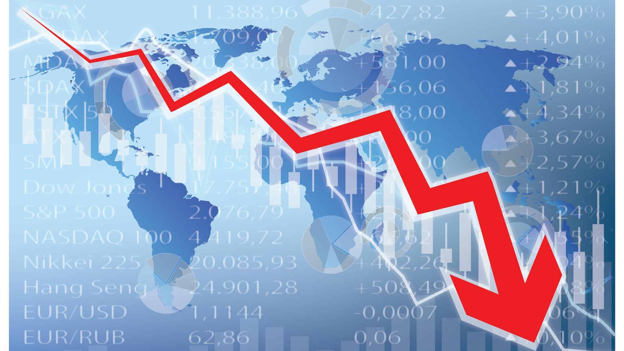 downward arrow illustrating global share market crash