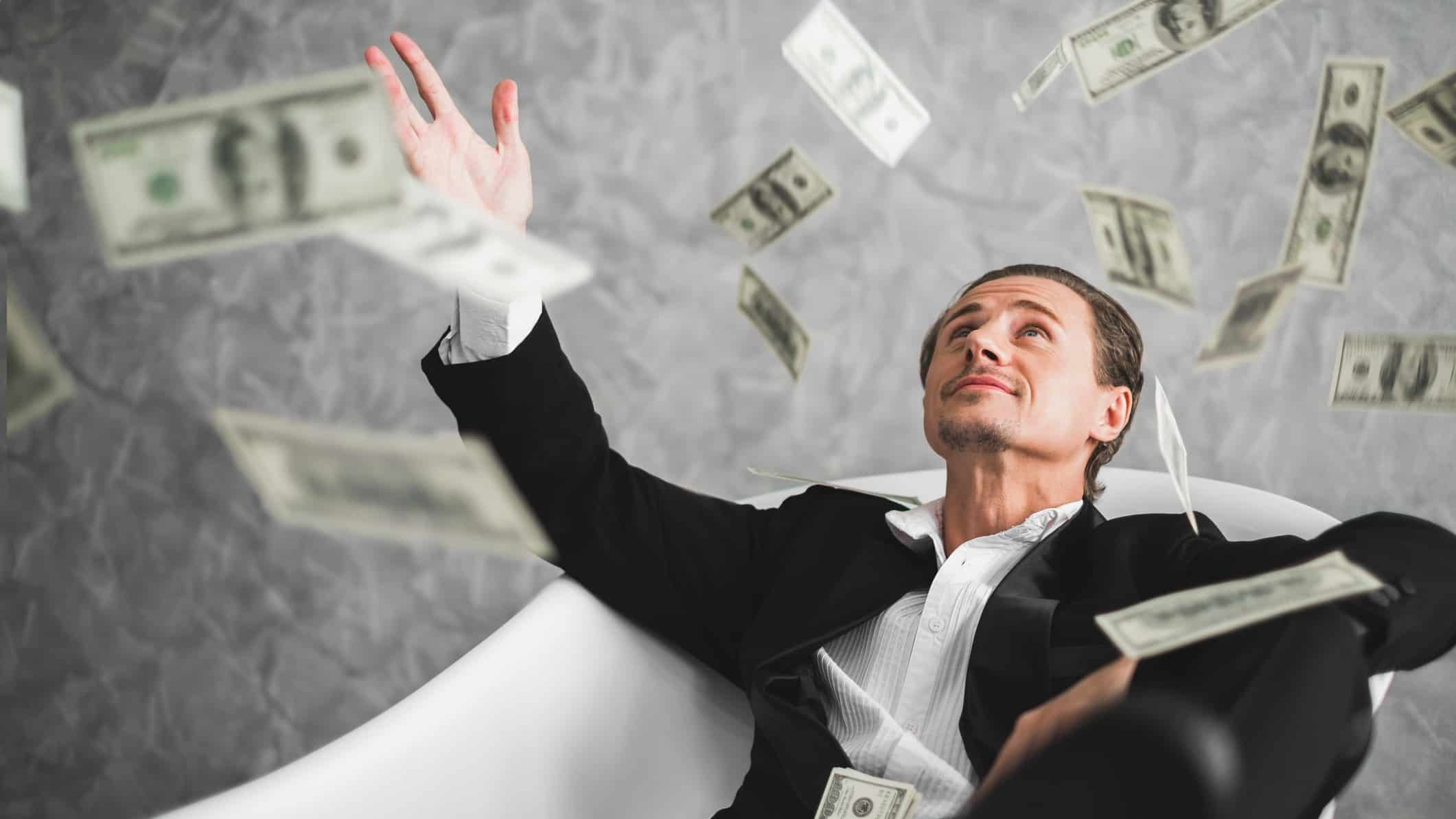 Millionaire and Wealthy man with money raining down, cheap stocks