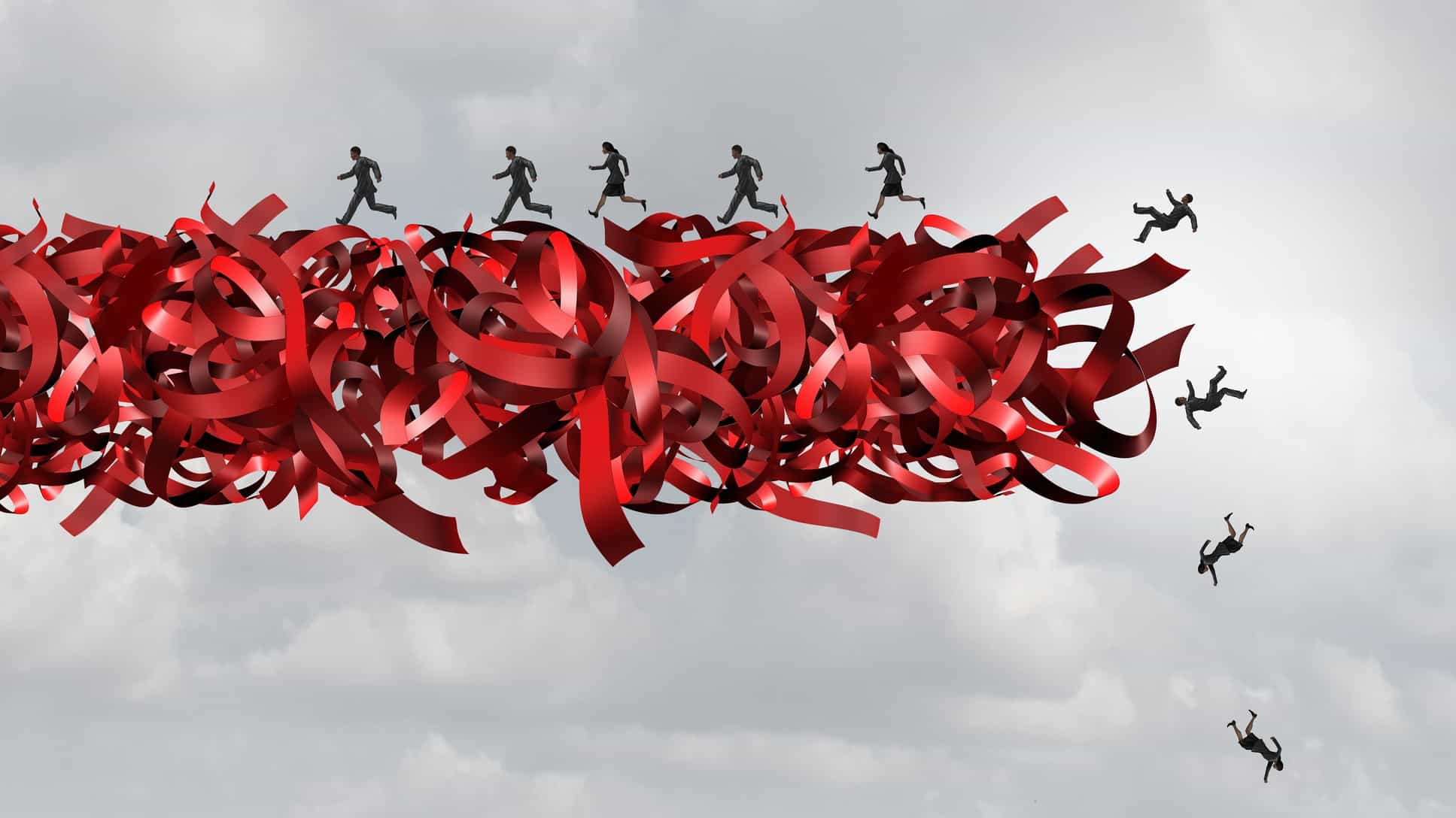 Tangled red tape in mid air with small figures falling off it