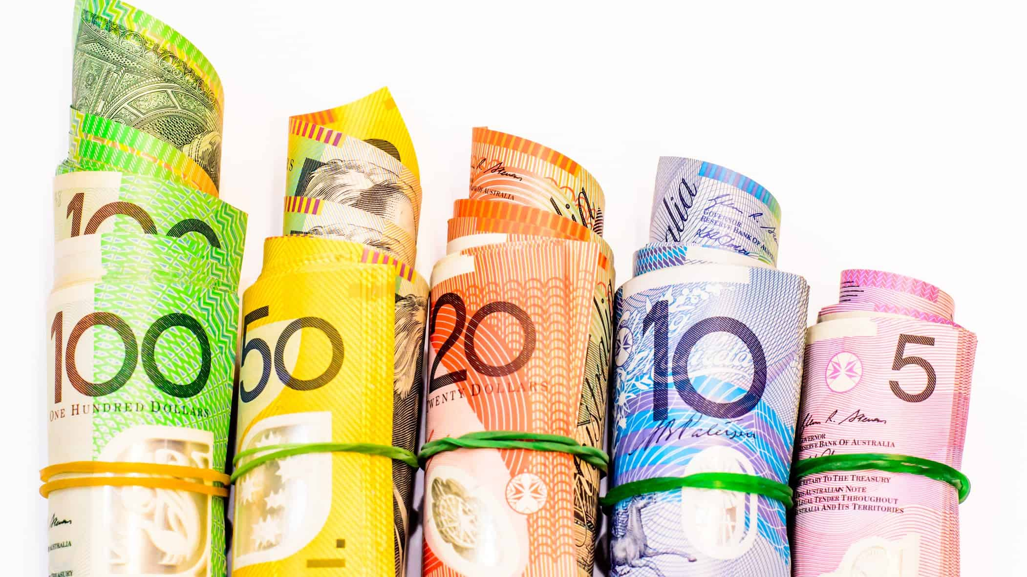 Rolled up notes of Australia dollars from $5 to $100 notes