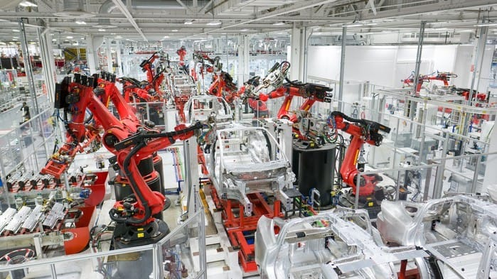 Electric vehicle production at Tesla's factory in Fremont, California.