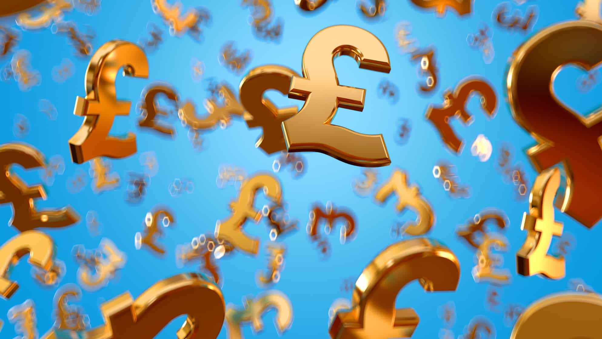 rising UK money represented by gold pounds sterling symbols floating high in the sky