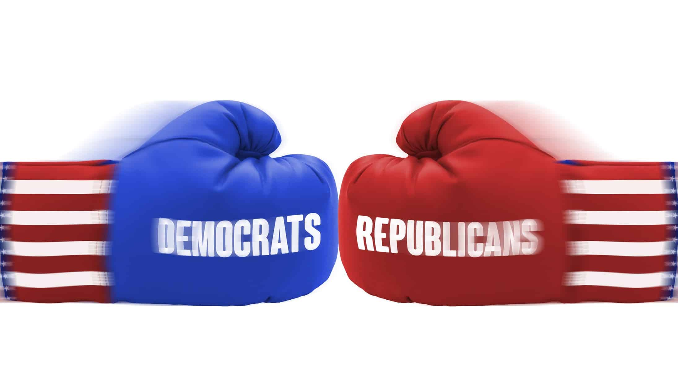 asx shares and united states election represented by red and blue boxing gloves meeting in punch