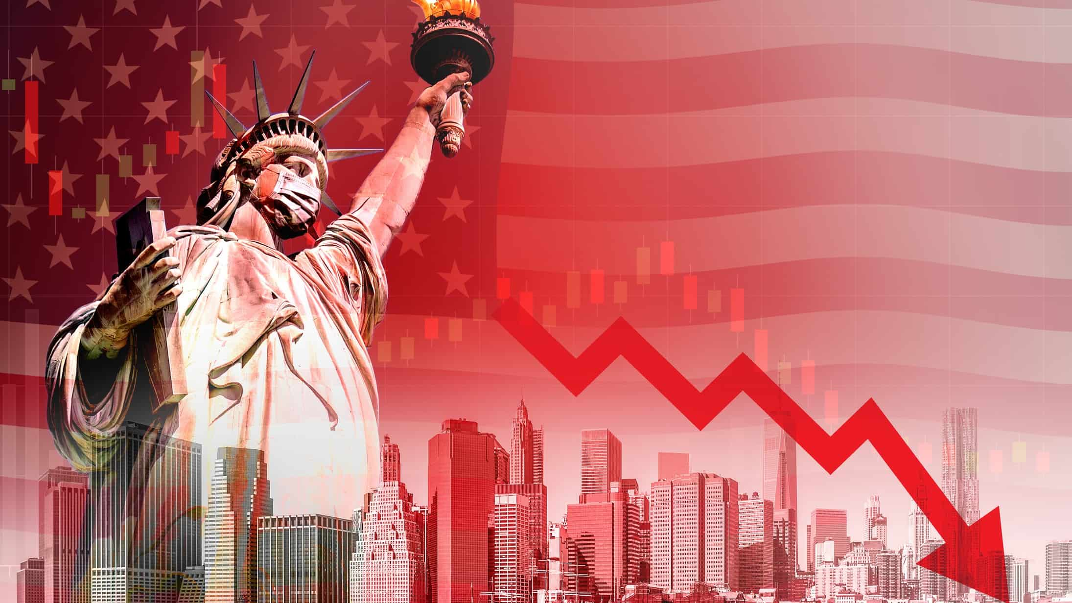 The statue of Liberty against a red chart with an arrow pointing down, indicating economic instability or recession in the US