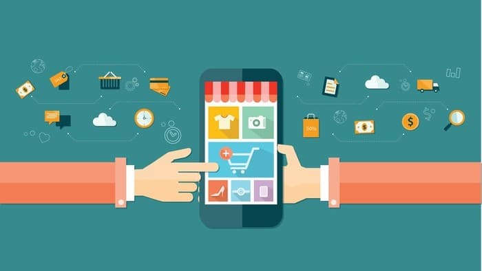 amazon shares represented by illustration of hands touching buttons on mobile phone surrounded by online shopping icons