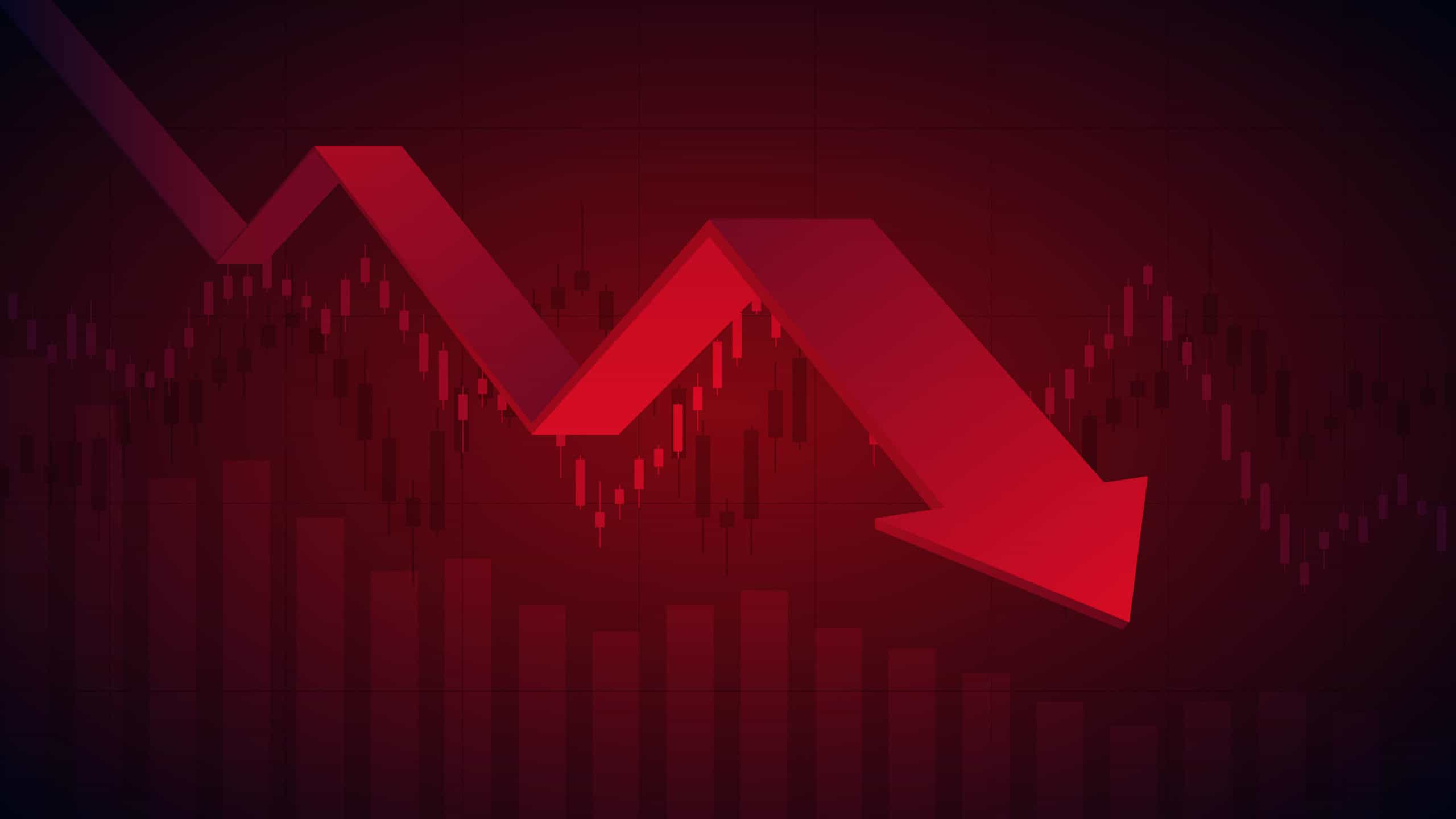 red arrow pointing down, falling share price