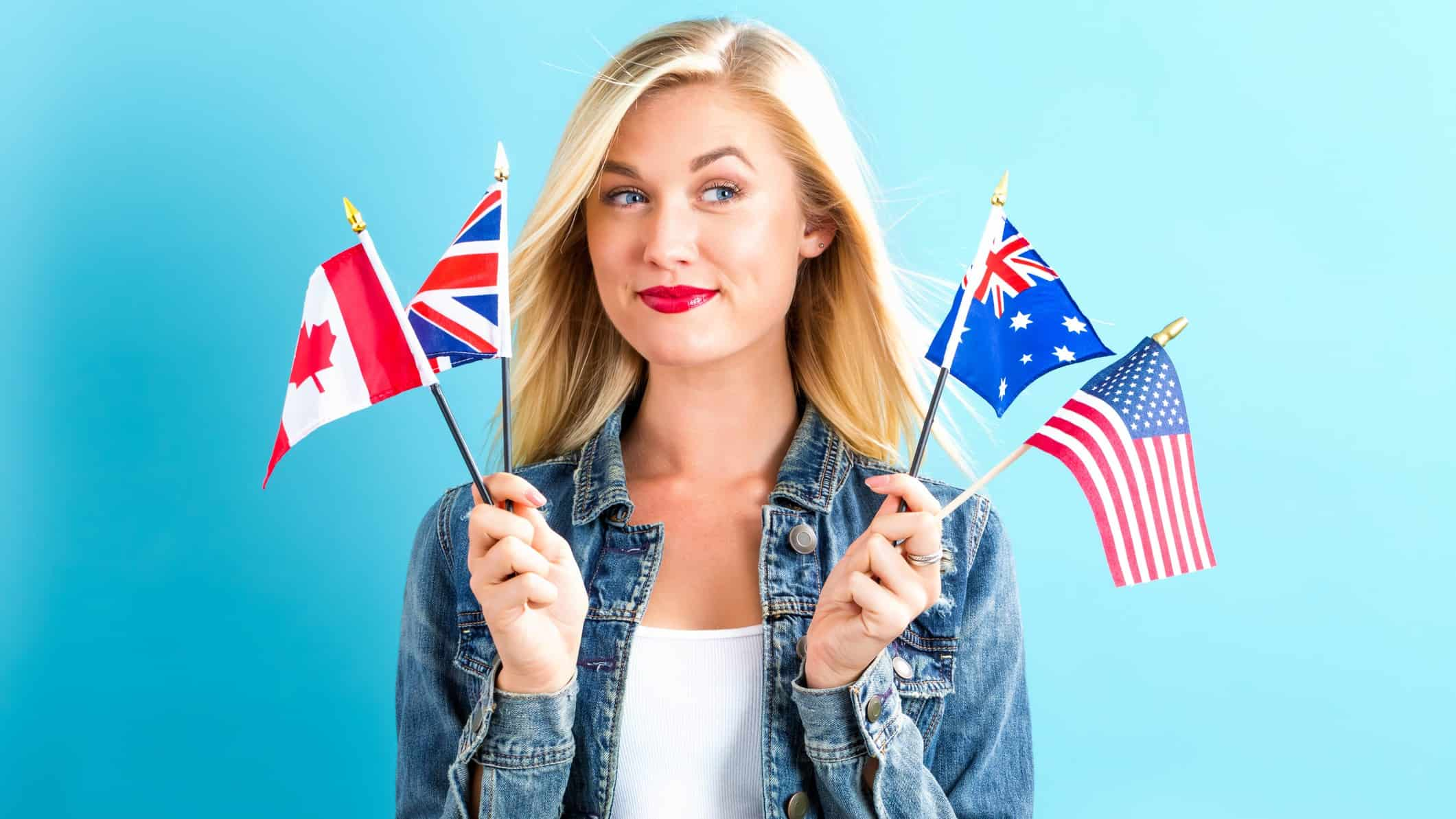 comparing asx 200 to global indexes represented by woman holding up multiple countries' flags