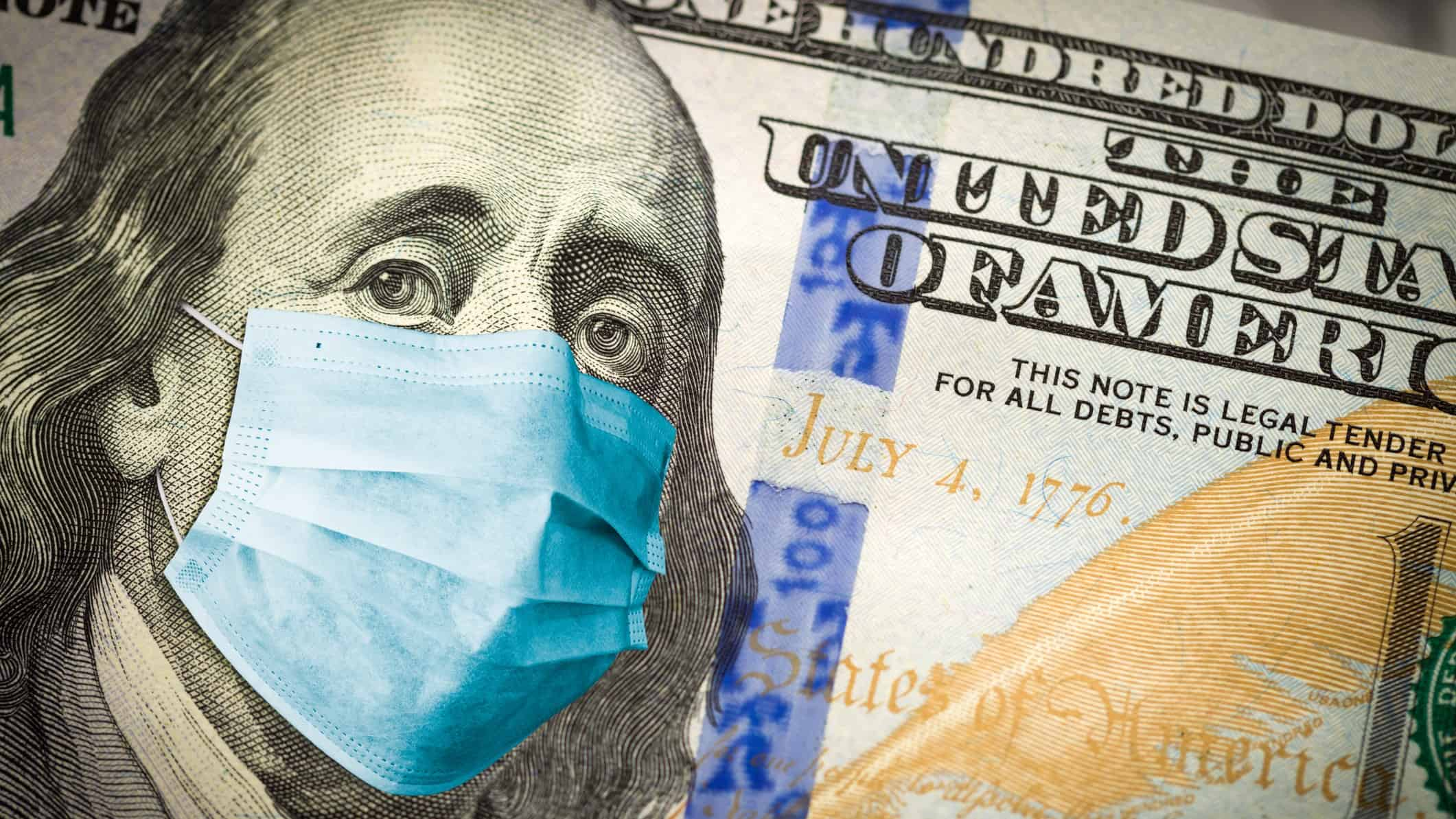 asx 200 affected by covid cases represented by American $100 note with face mask