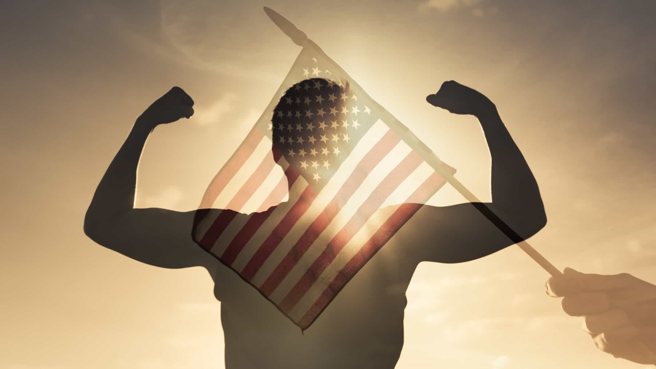 asx share price boosted by us investment represented by hand waving US flag across winning athlete