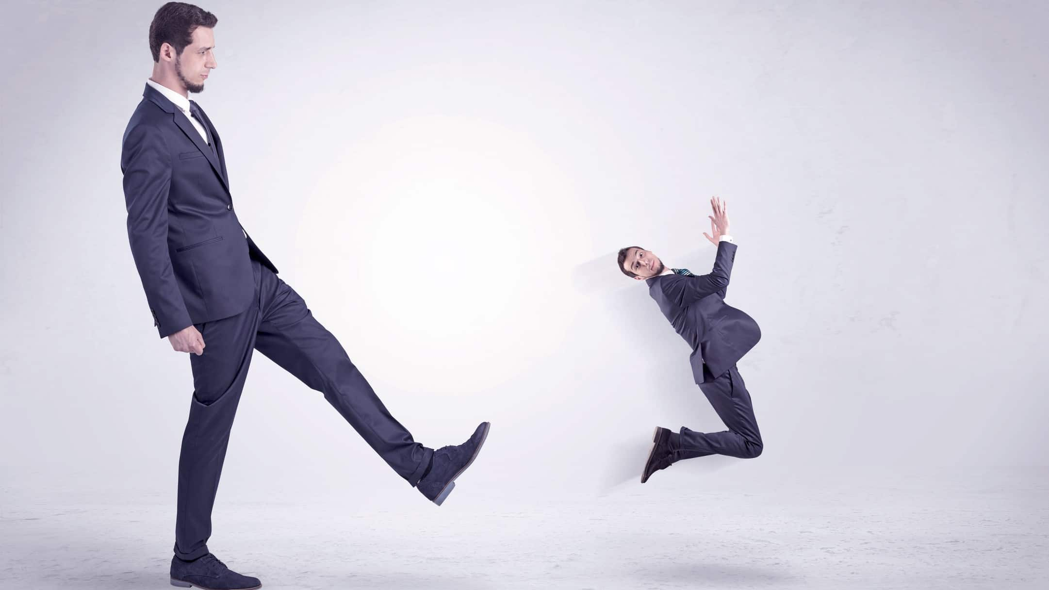 asx share price resignation represented by man kicking miniature man through the air