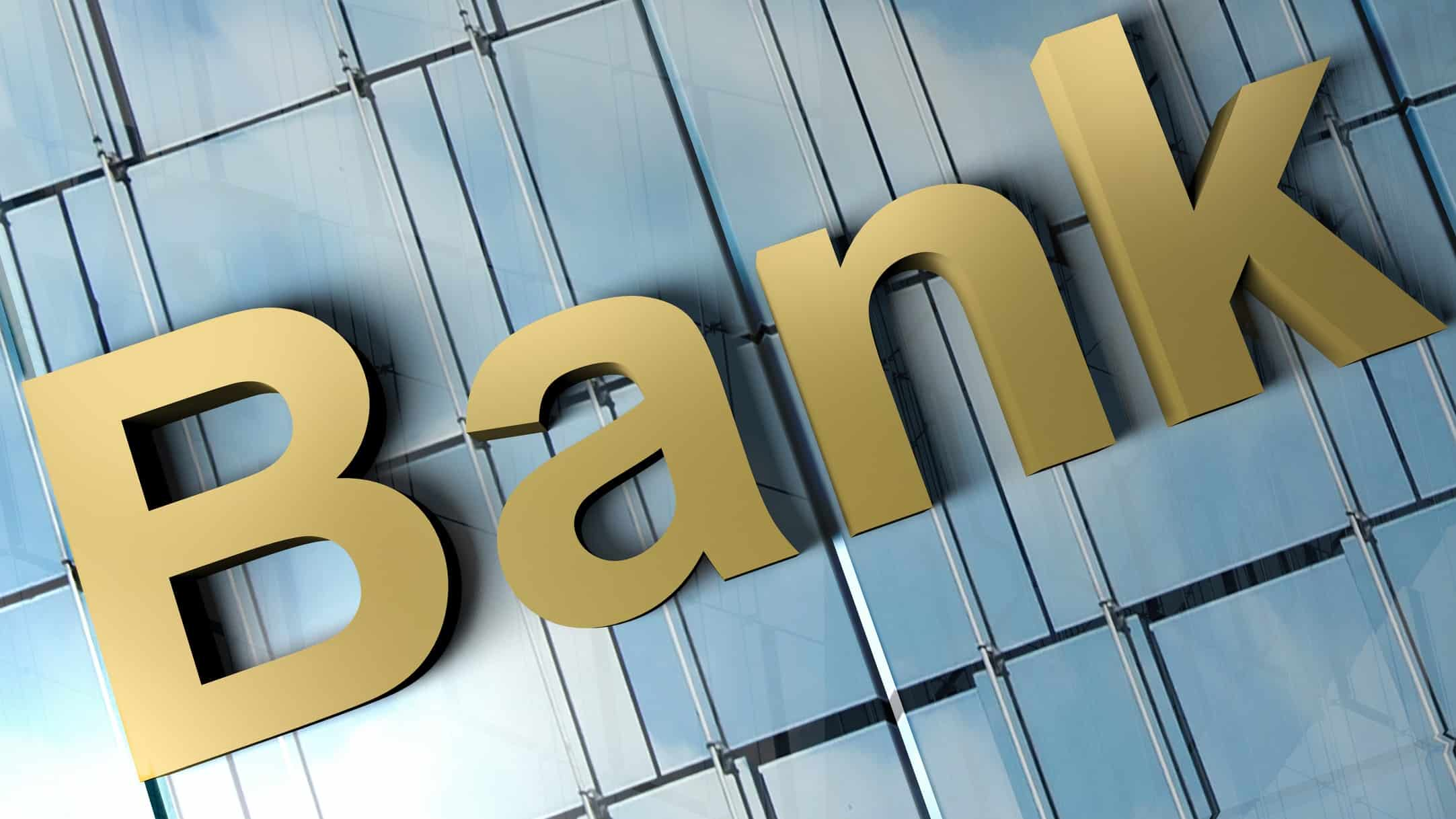 asx bank shares represented by large buidling with the word 'bank' on it