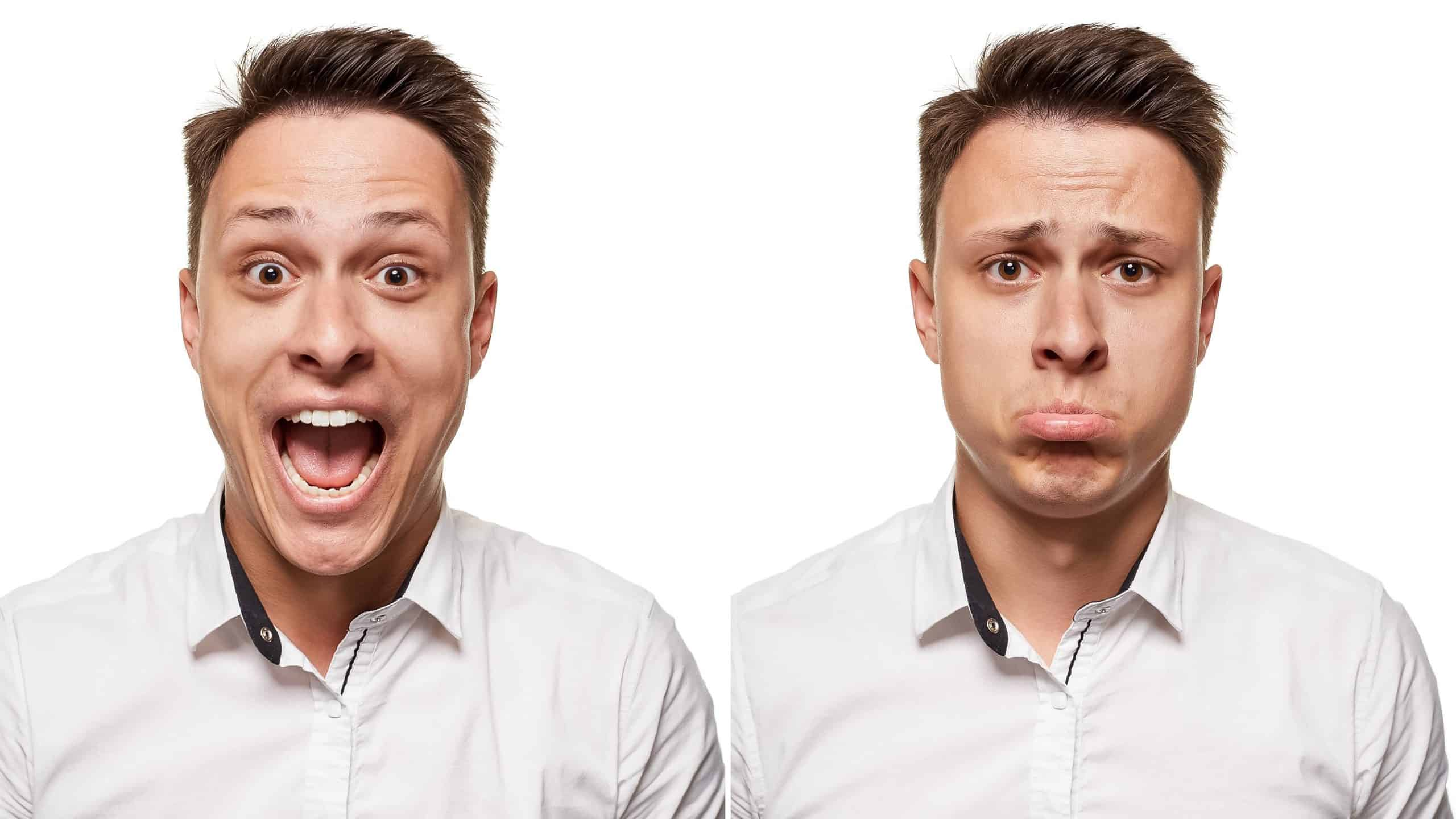 good news and bad for asx shares represented by same man pictured happy and then sad