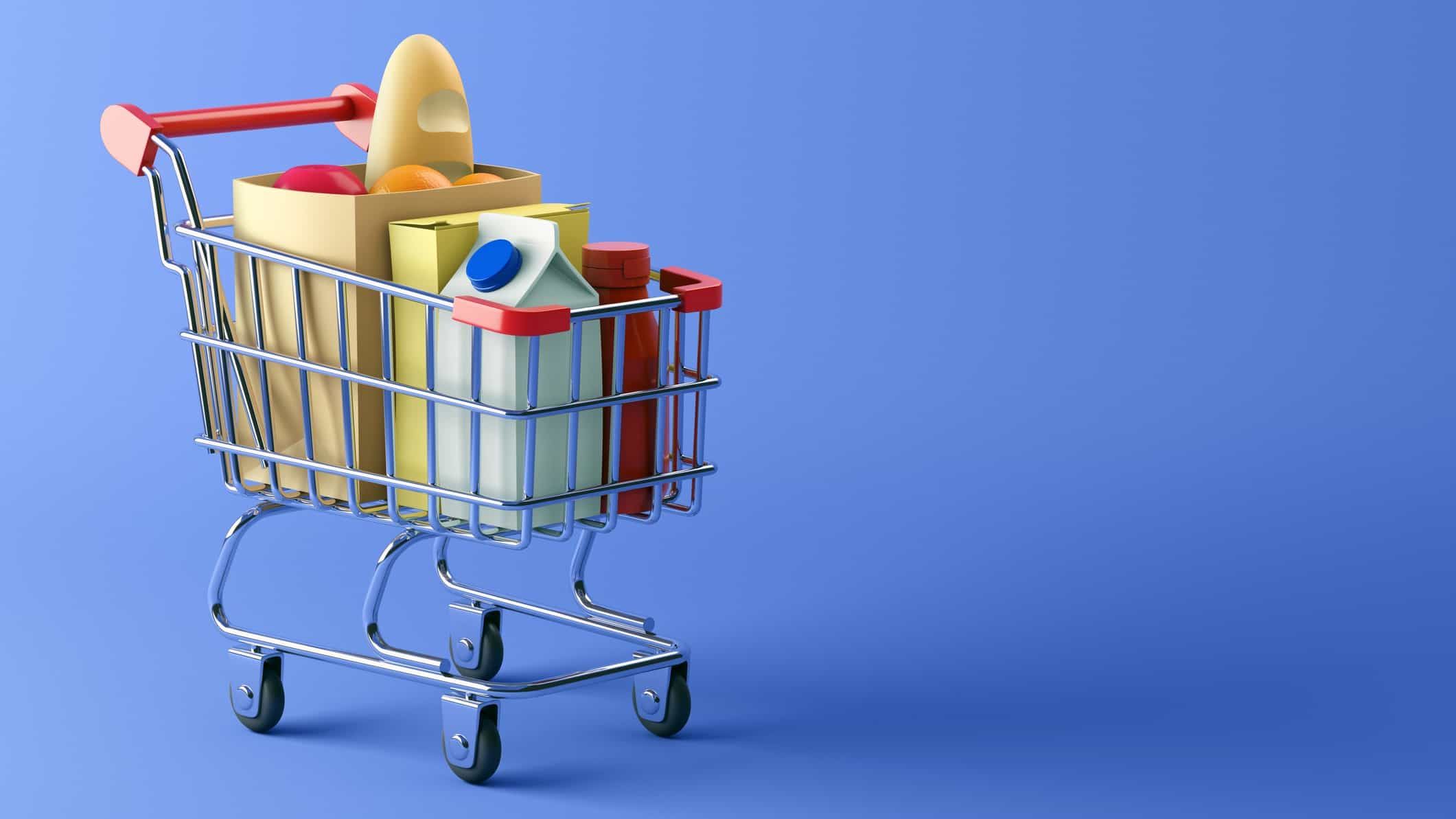 asx consumer staple shares represented by shopping trolley filled with essential grocery items