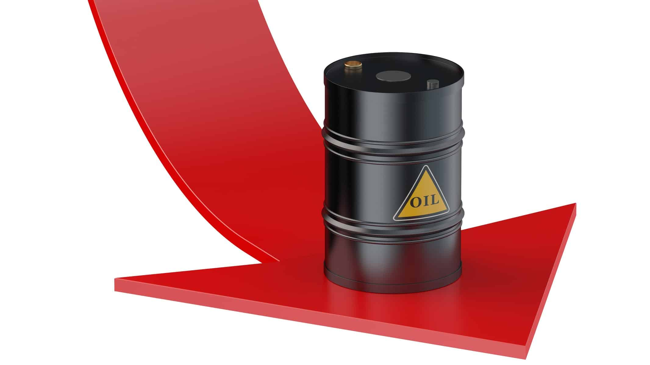barrel of oil sitting on top of falling red arrow representing asx energy shares