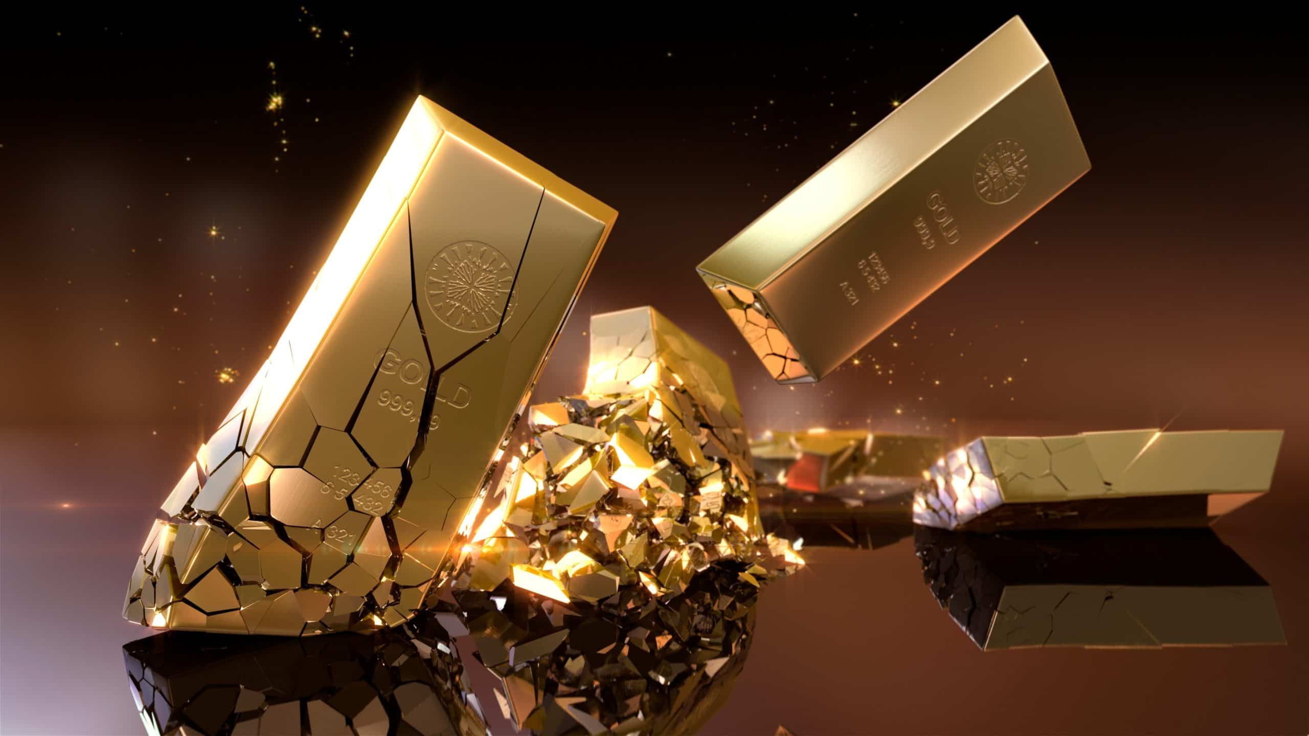 gold bars fulling to the ground and smashing representing falling prices of ASX gold shares