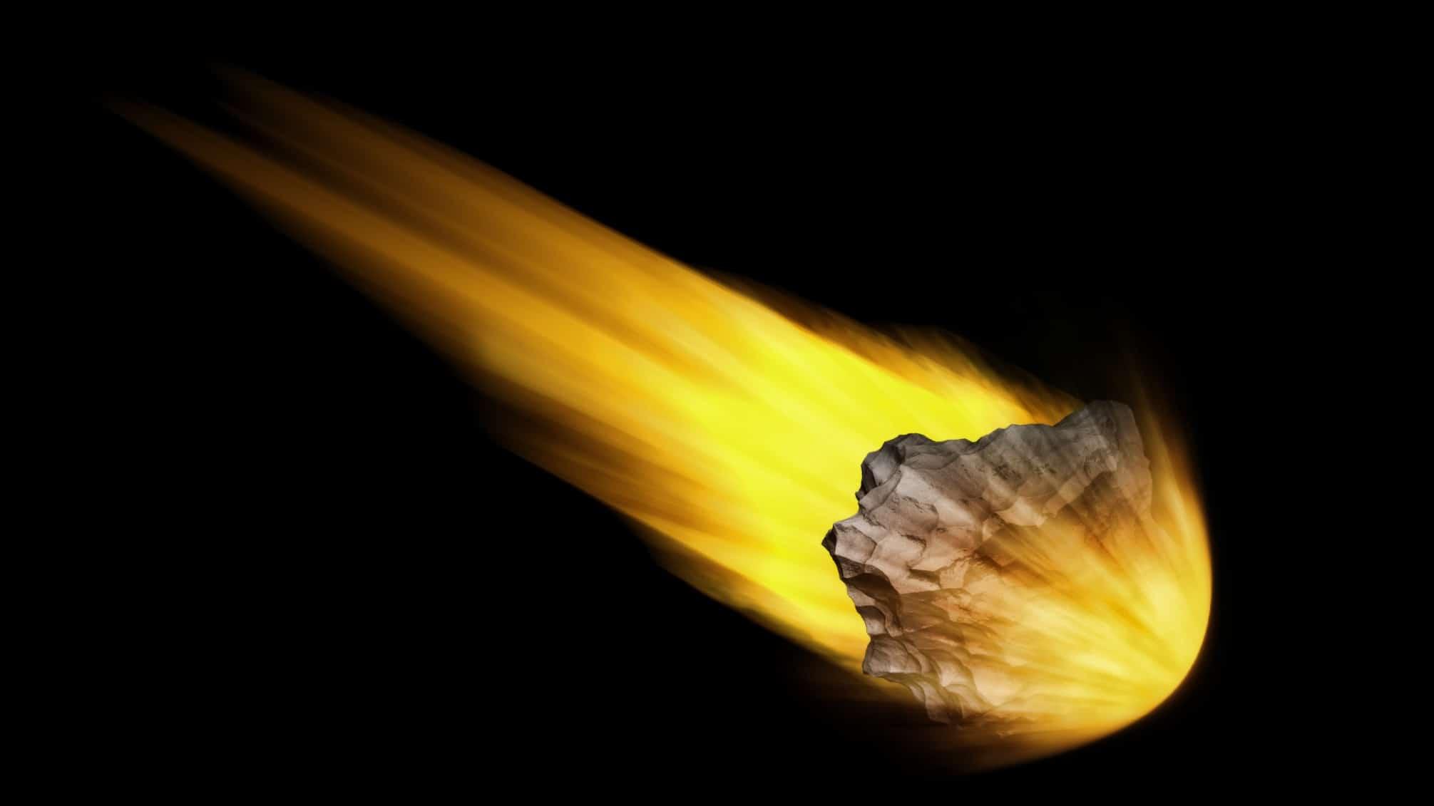 meteor speeding through space