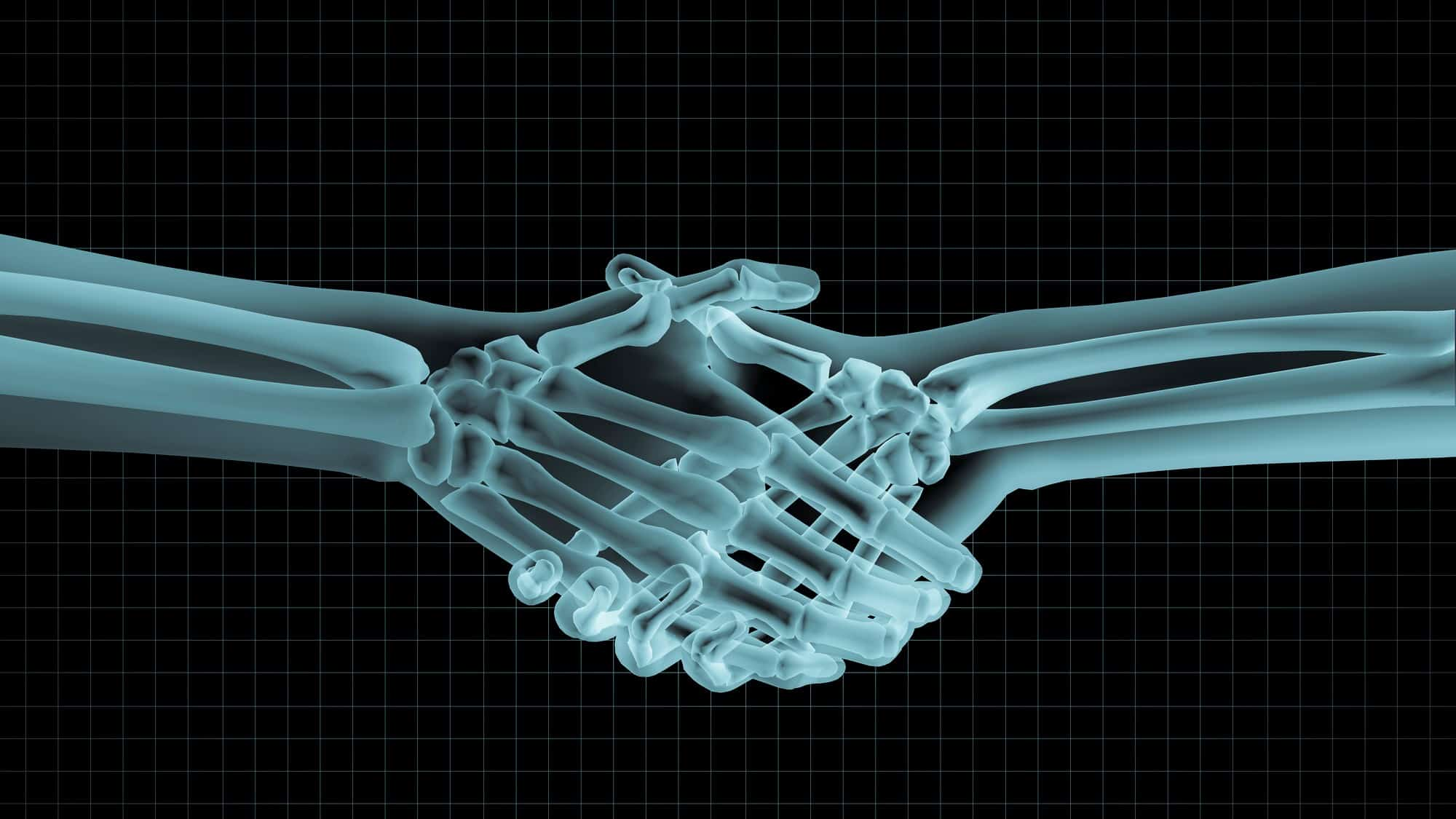 asx medical share price represented by x-ray or people shaking hands