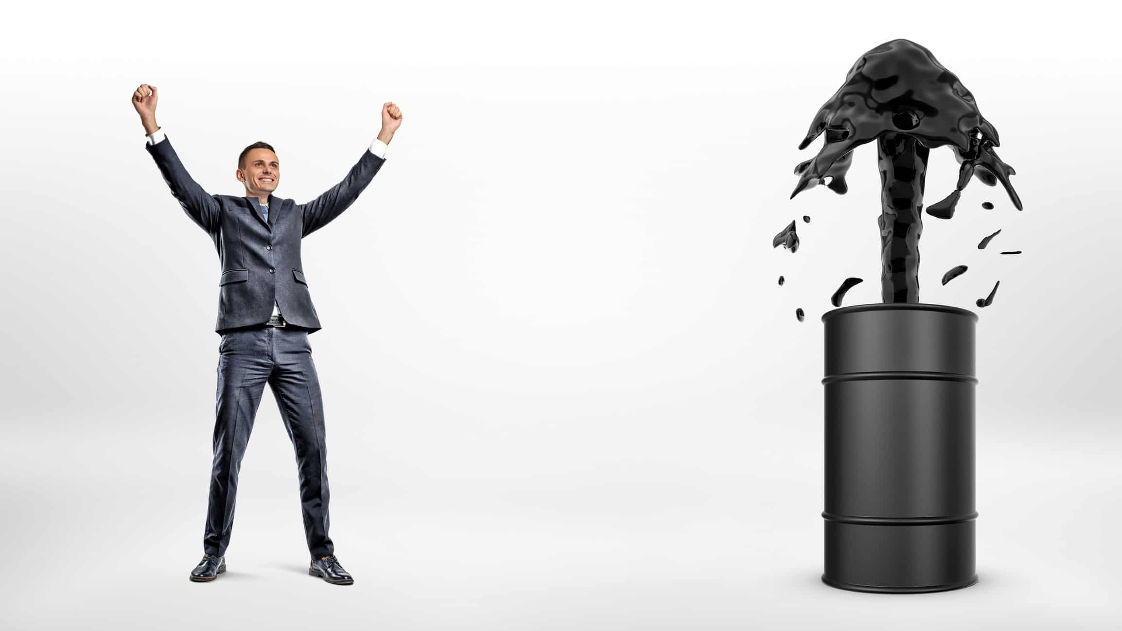 rising asx oil share price buy represented by business man celebrating next to oil barrel erupting with up arrow
