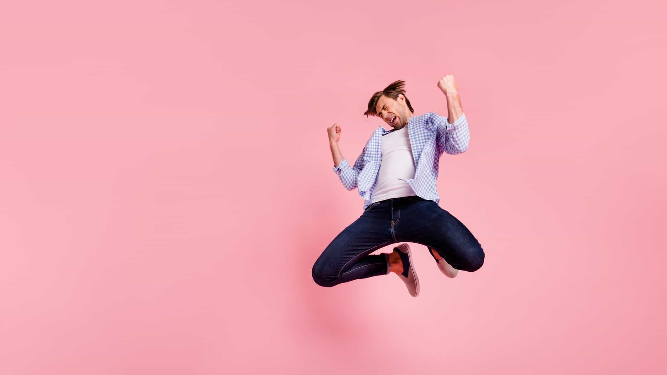 jump in asx share price represented by man jumping in the air in celebration