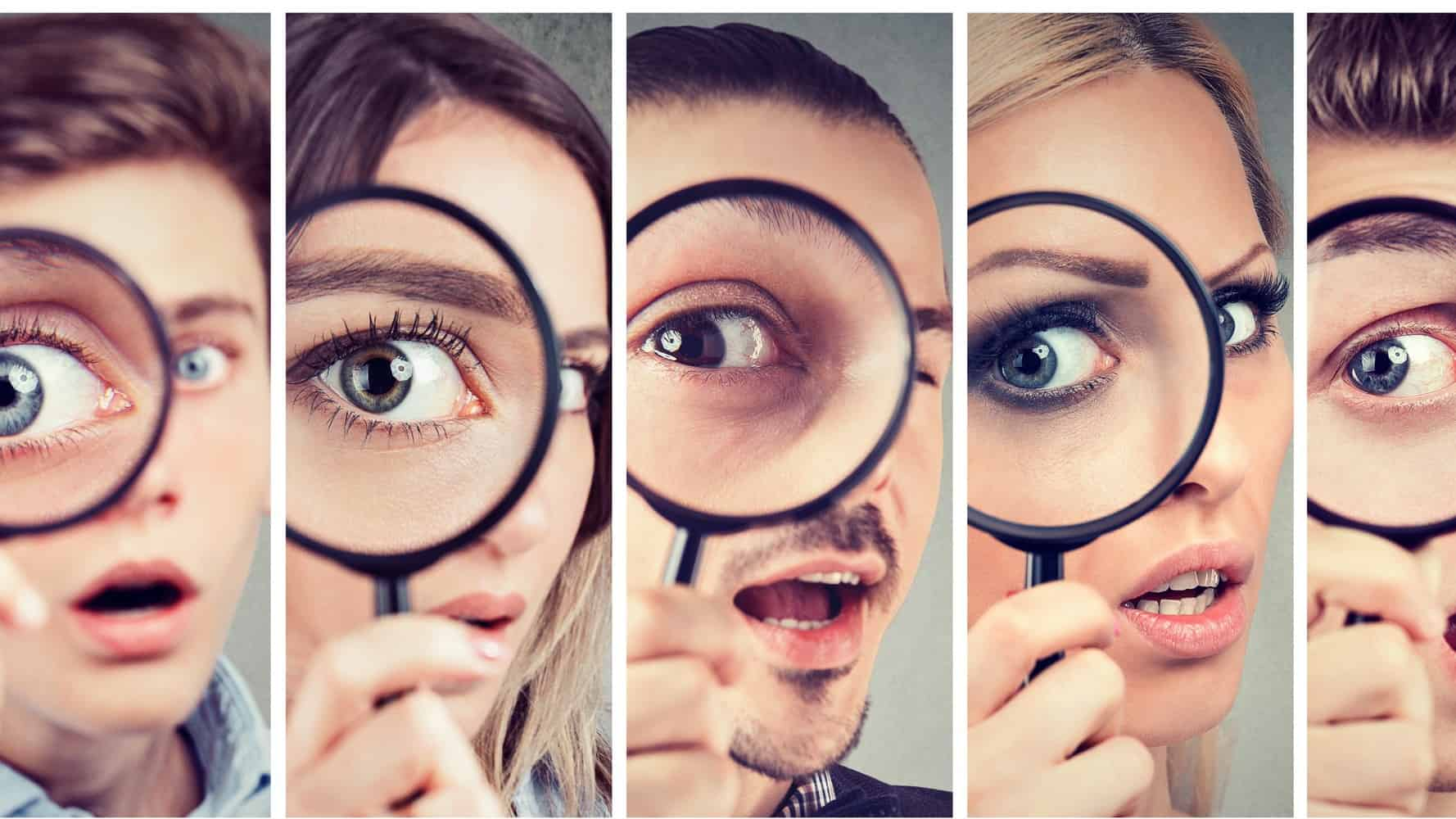 asx share price on watch represented by group of prople all looking through magnifying glasses