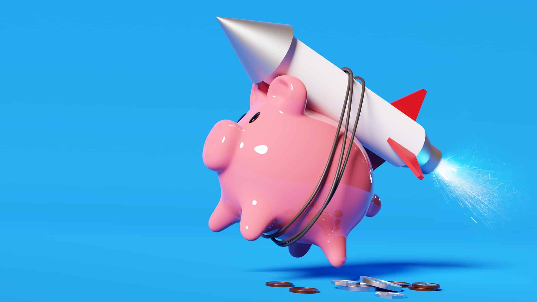 surging asx share price represented by piggy bank with rocket attached to it
