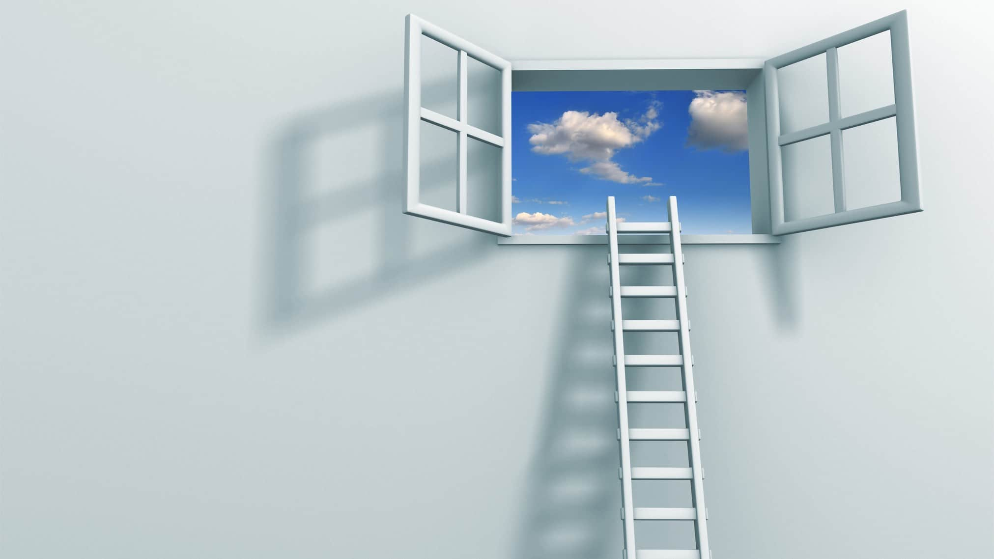 ladder leading up to open window representing buying opportunity for asx shares