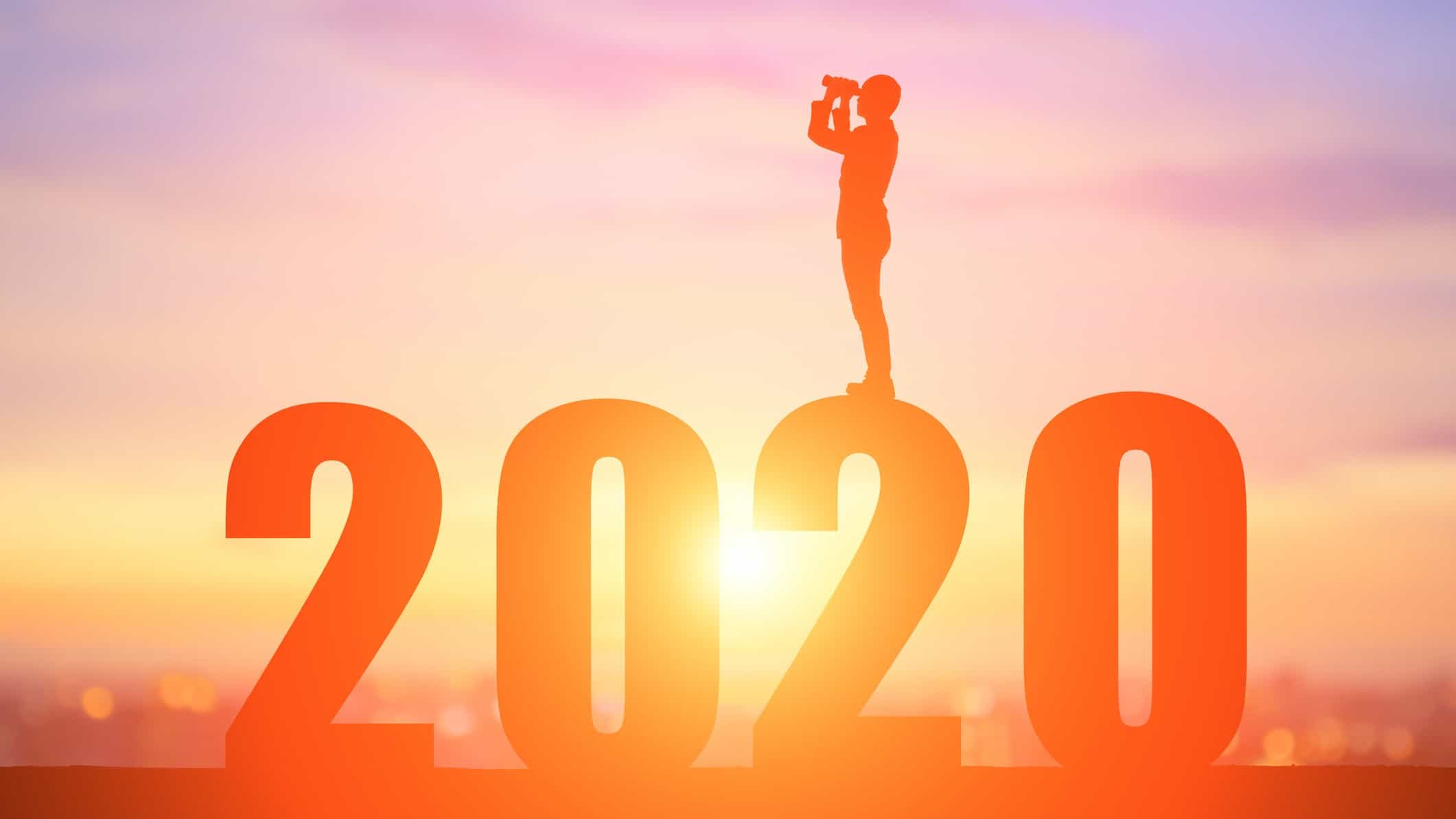 asx shares and REITs outlook represented by man standing on giant 2020 looking out with binoculars