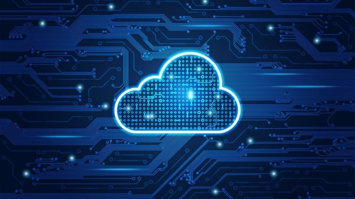 asx shares involved with cloud tech represented by illuminated cloud on circuit board