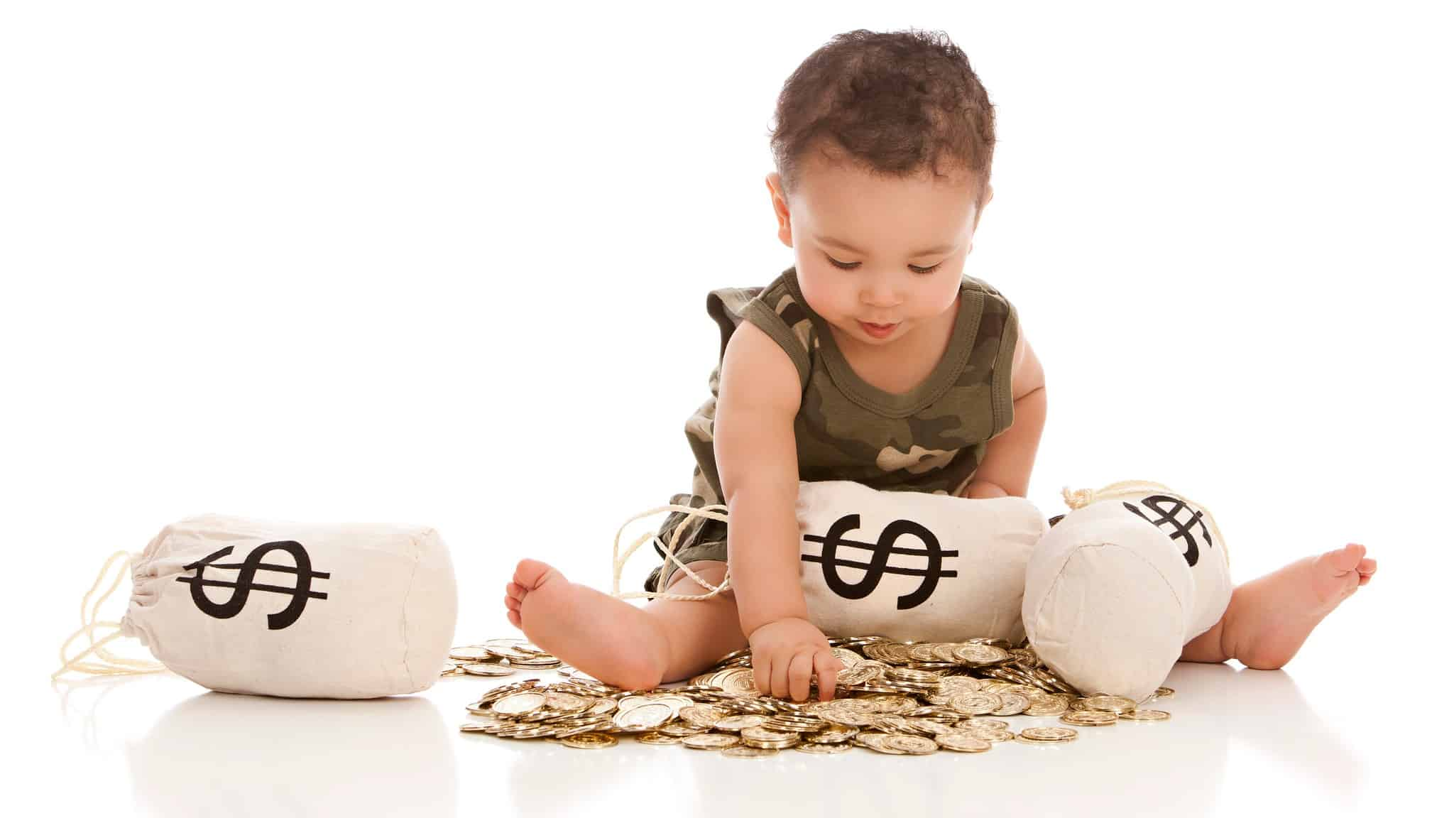 asx shares beginner investor represented by baby playing with gold coins and bags of money