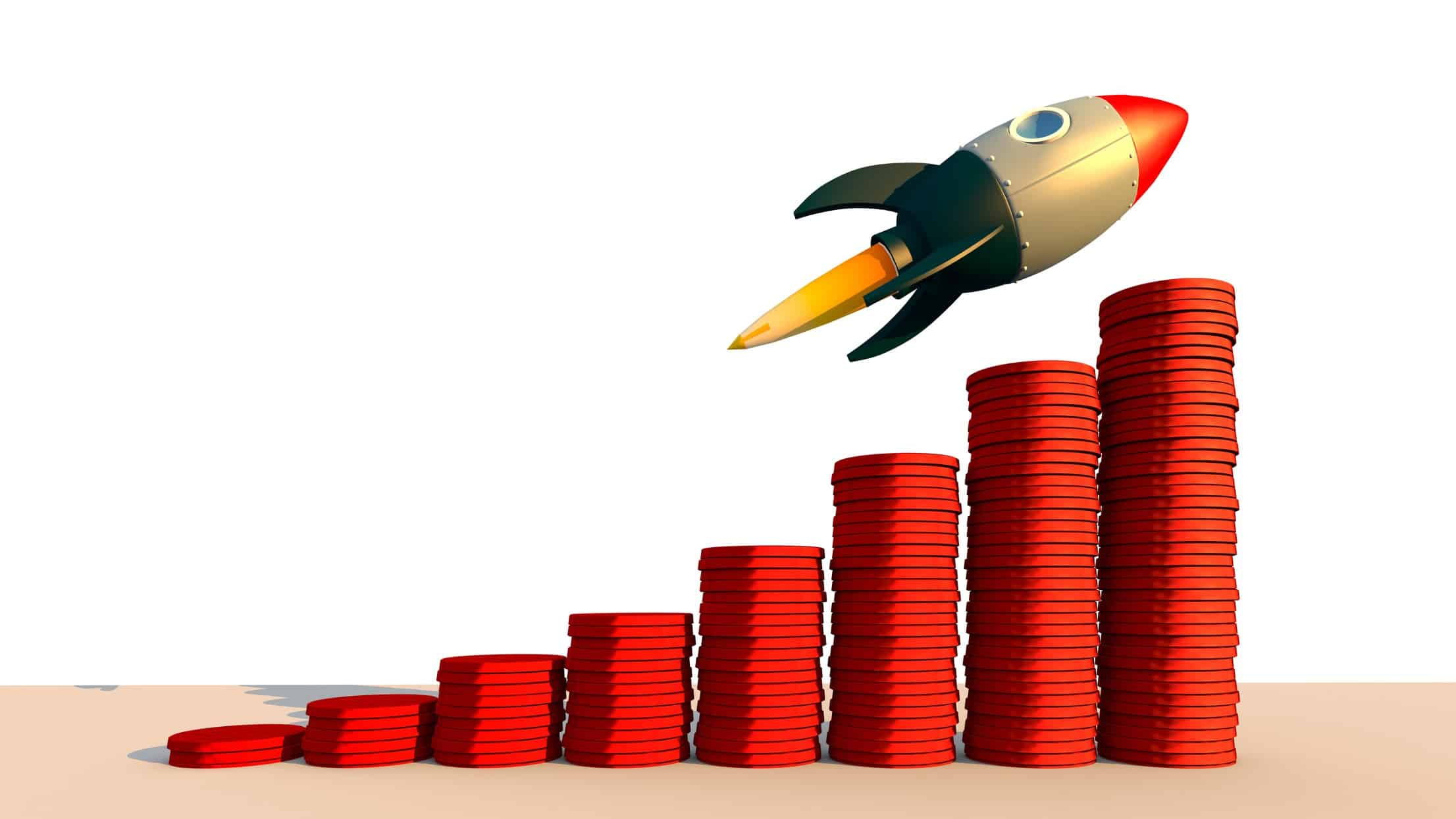 illustration of rocket ascending increasing piles of coins representing asx shares involved in space tech