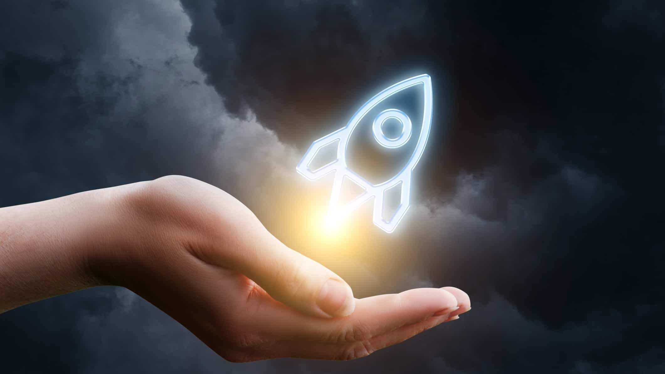 rise in asx tech share price represented by digitised rocket shooting out of person's hand