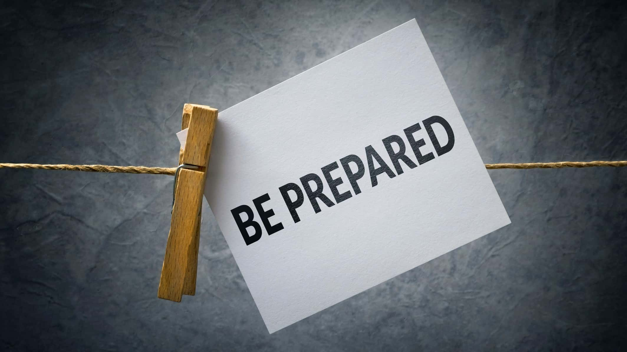 preparing for changing asx share prices represented by 'be prepared' note pegged to a line